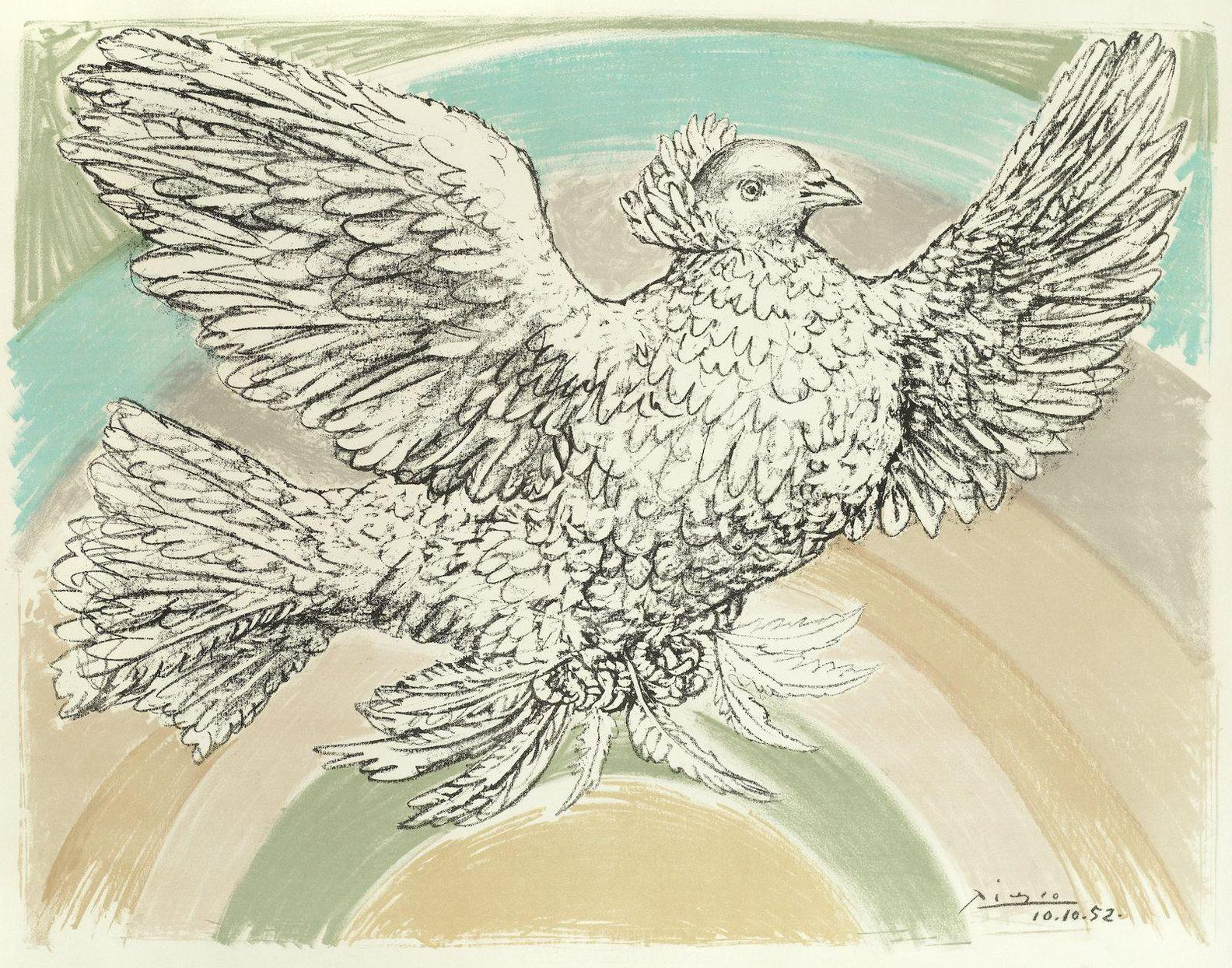 Pablo Picasso-Colombe Volant (A Larc-En-Ciel) (Bloch 712; Mourlot 214)-1952
