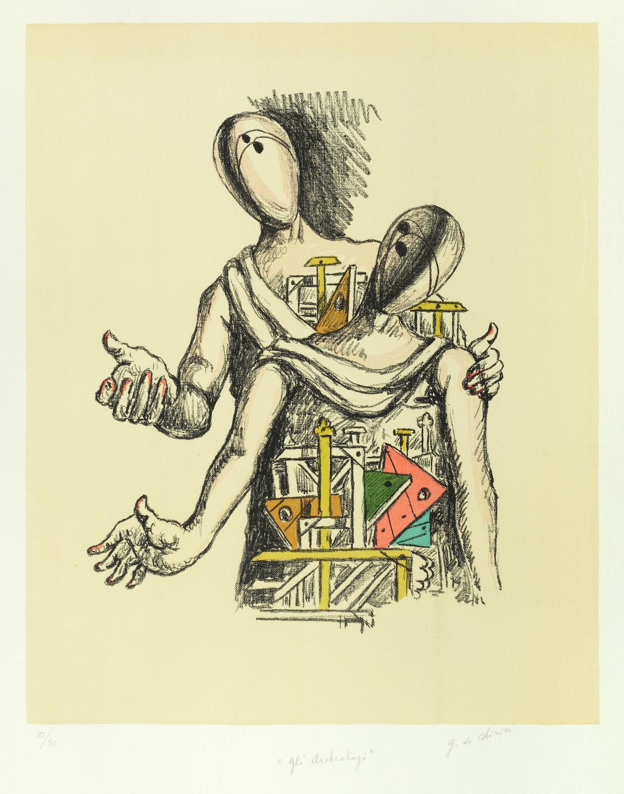 Giorgio de Chirico-Gli Archeologi-1969