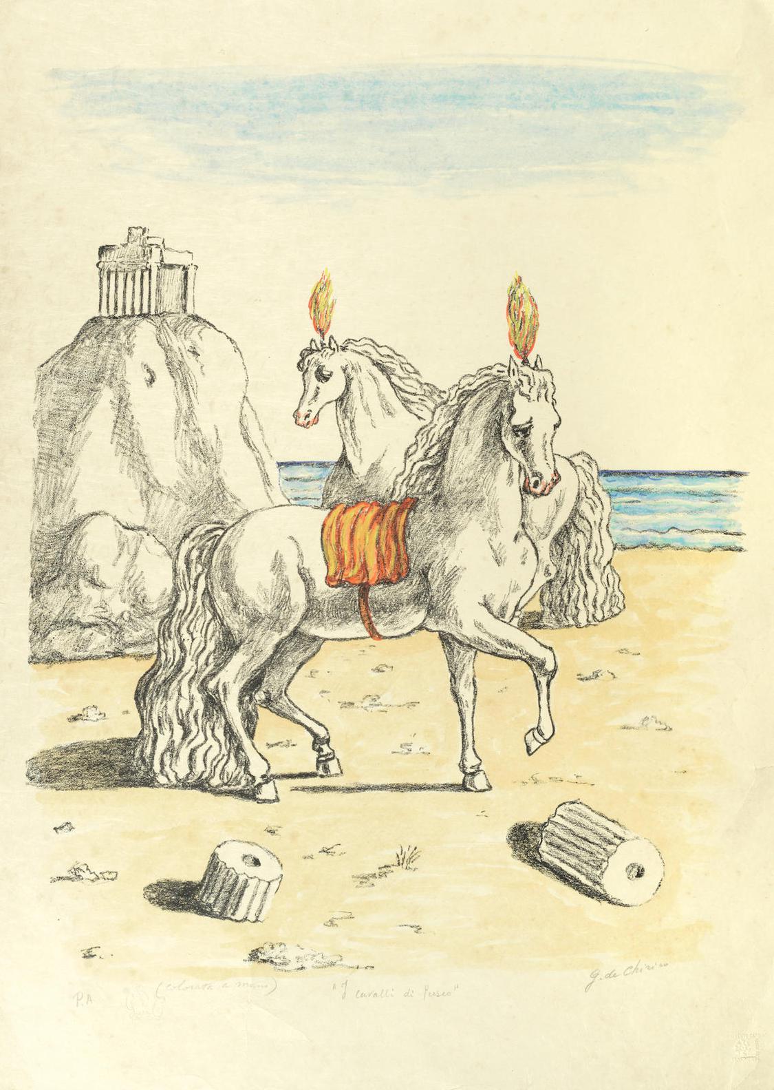 Giorgio de Chirico-I Cavalli Di Perseo-1972