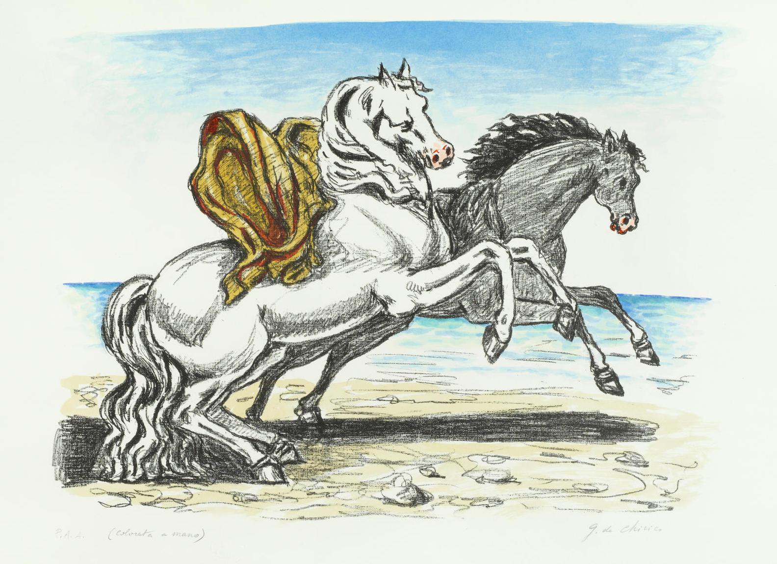 Giorgio de Chirico-Cavalli Sulla Spiaggia-1970