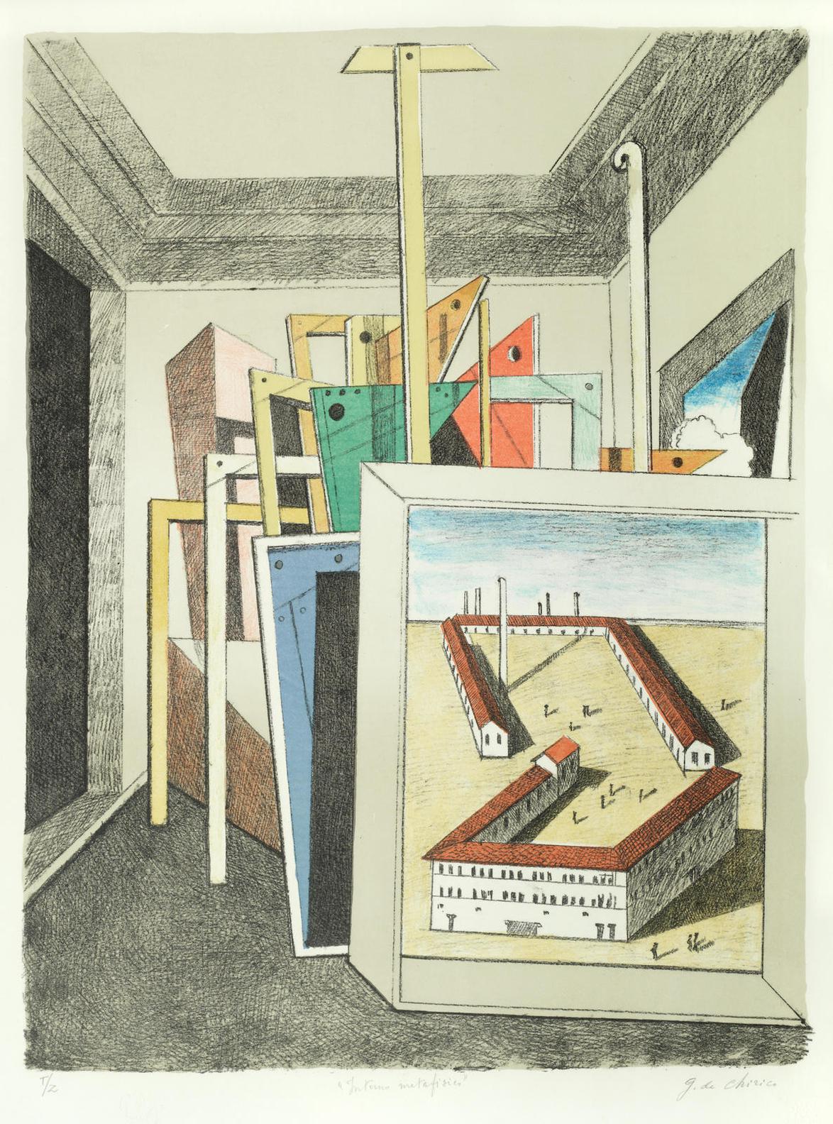 Giorgio de Chirico-Interno Metafisico-1975