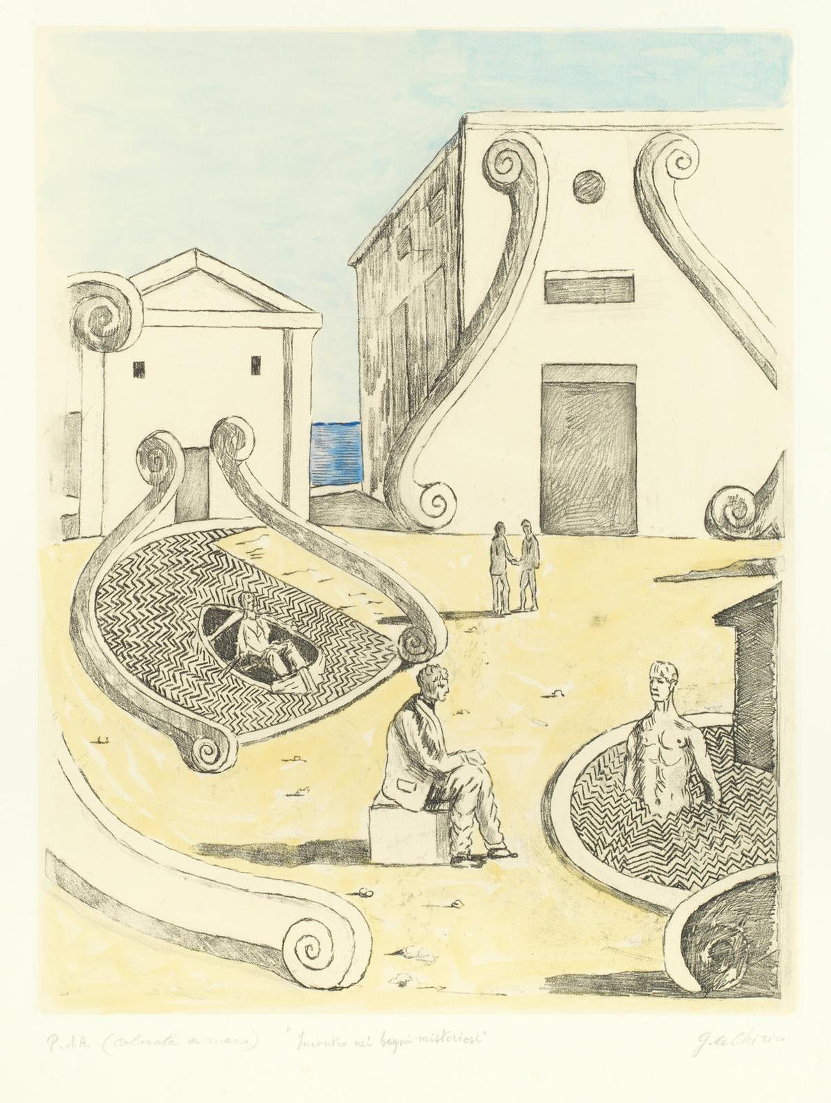 Giorgio de Chirico-Incontro Nei Bagni Misteriosi-1970