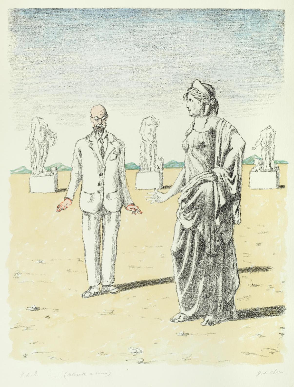 Giorgio de Chirico-Il Filosofo E La Musa-1971
