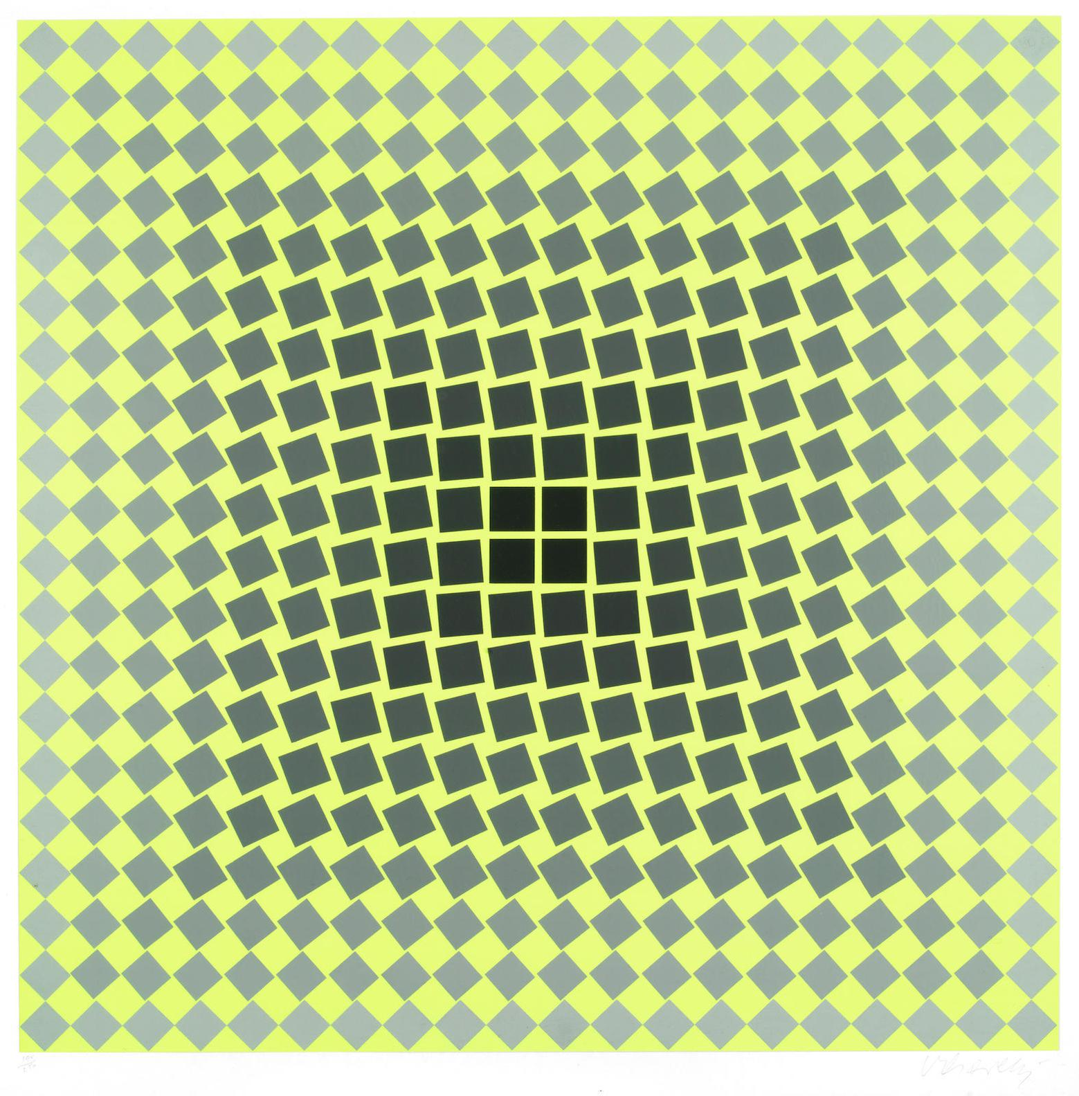 Victor Vasarely-Untitled (Yellow, Silver And Black)-
