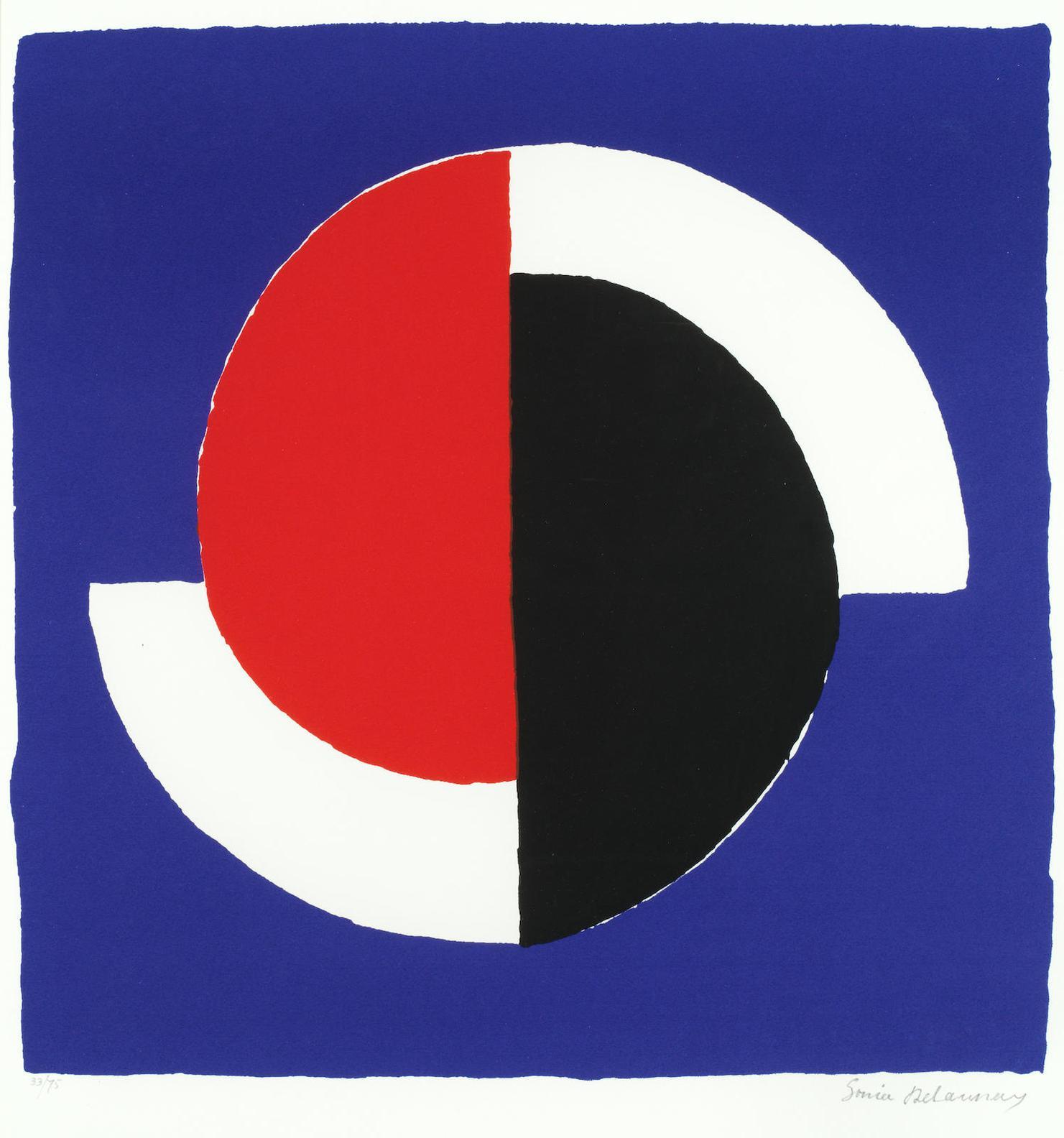 Sonia Delaunay-Composition Fond Bleu-1964