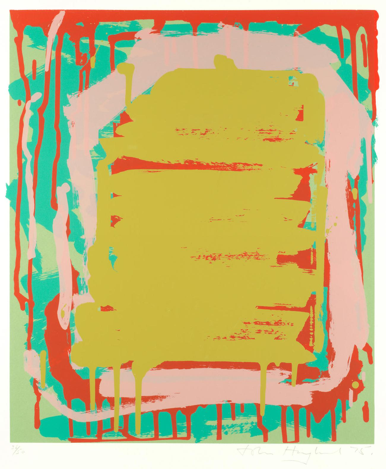 John Hoyland-Untitled (Ochre); Untitled (Red), From Sutton Suite Two Lithographs Printed In Colours, 1975, On Wove, Signed, Dated And Numbered Respectively 36/50 And 34/50 In Pencil, With Full Margins, 555 X 458Mm (21 7/8 X 18In)(I)-1975