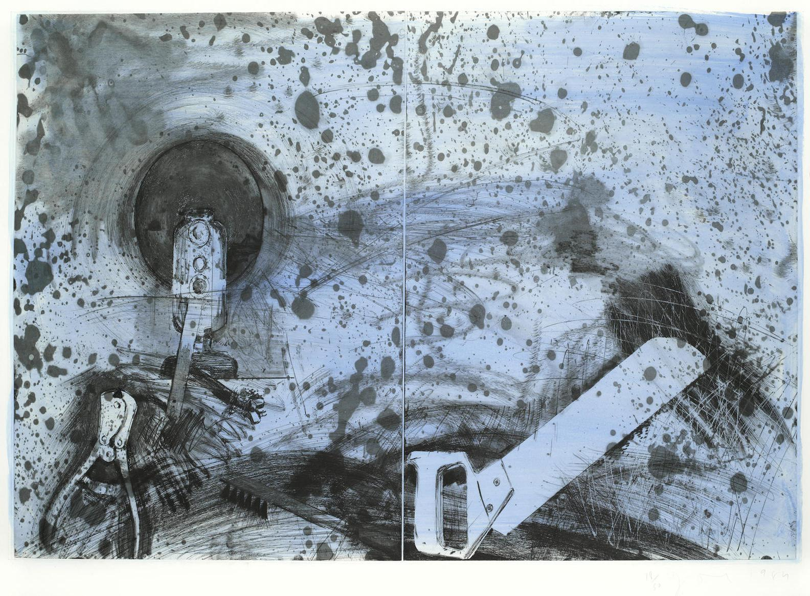 Jim Dine-The New French Tools 5 - Boulevard Victor, Blue Sky-1984