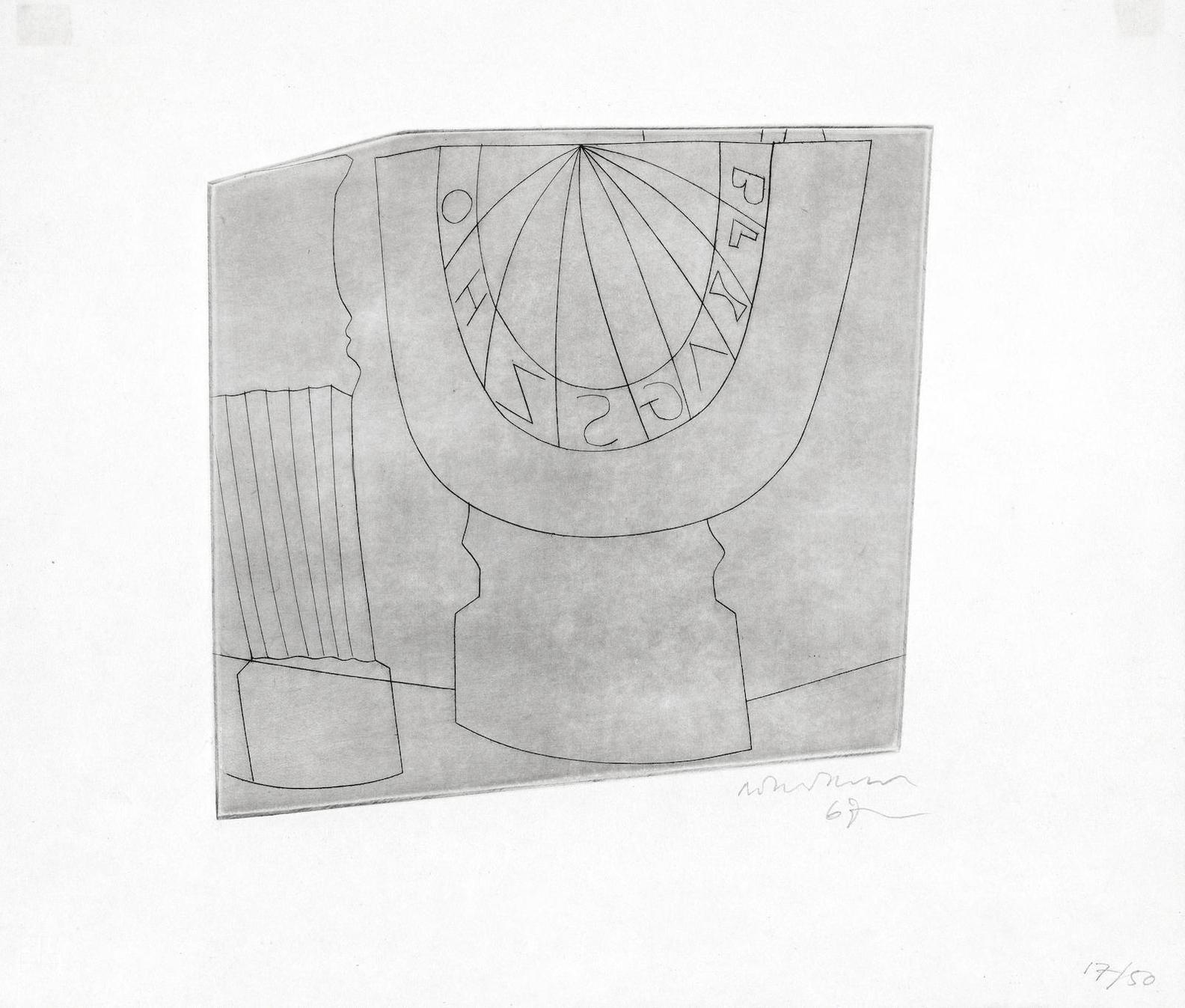Ben Nicholson-Turkish Sundial And Column-1967