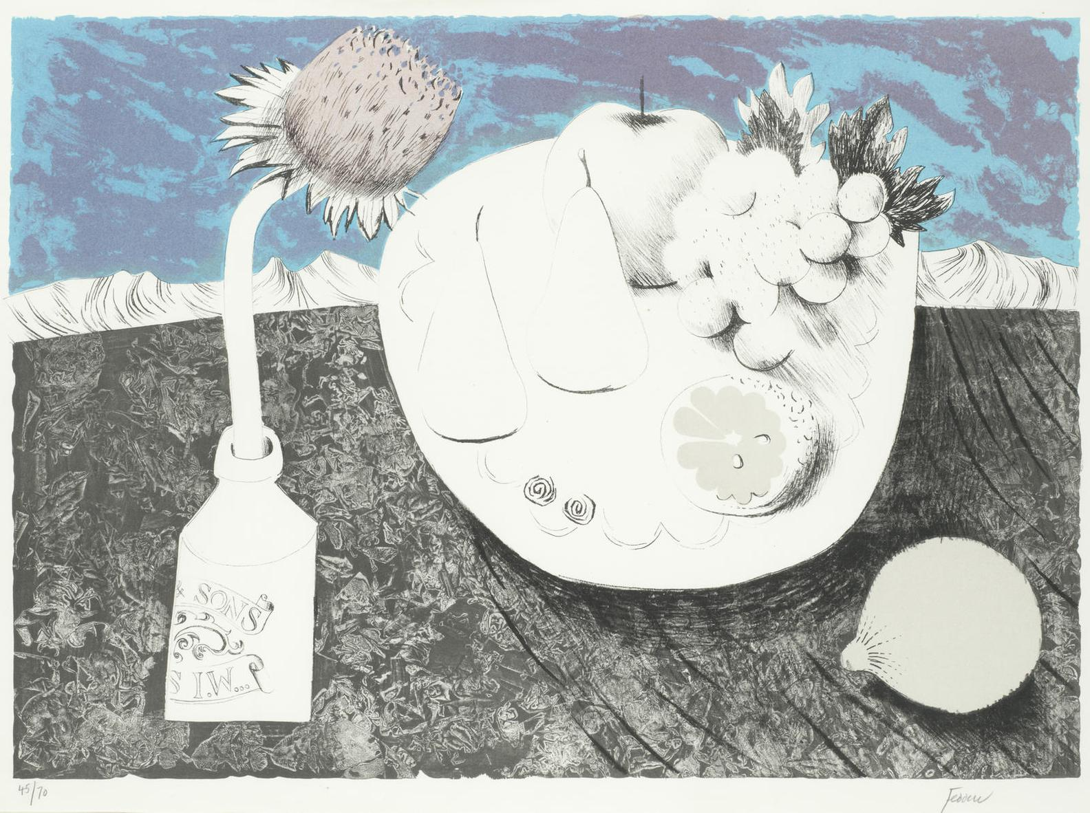 Mary Fedden-Figs; Etching Table-1972