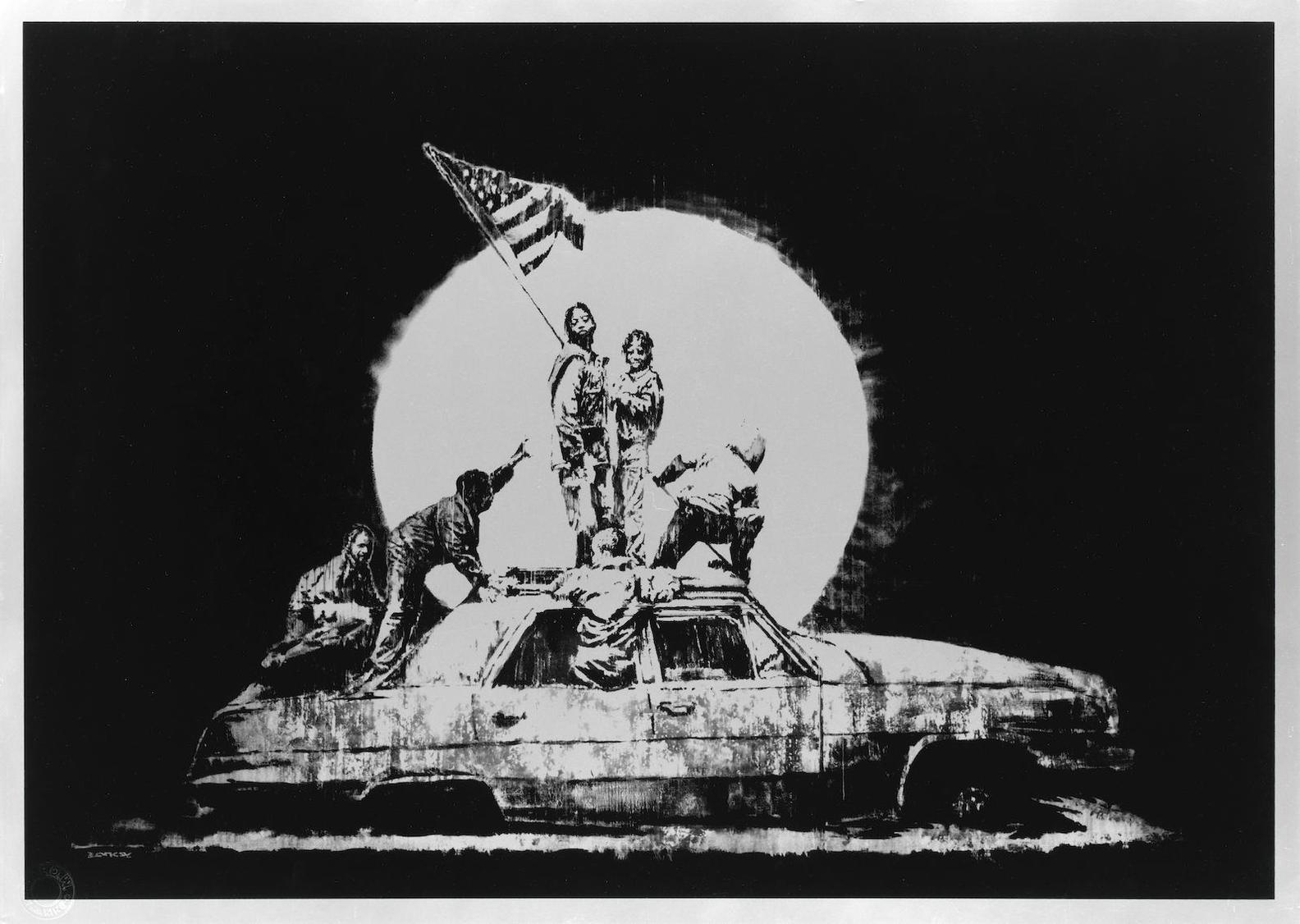 Banksy-Silver Flag-2006