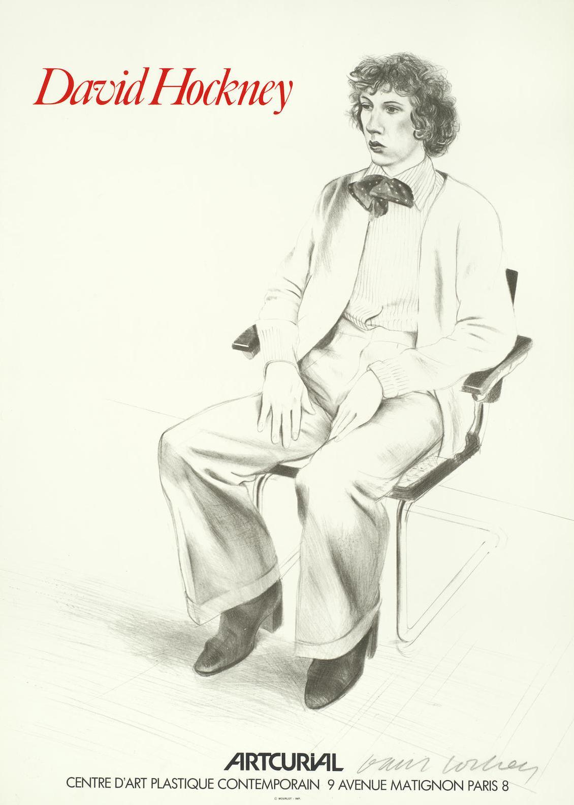 After David Hockney - Artcurial Exhibition Poster; with four further David Hockney exhibition posters-1973