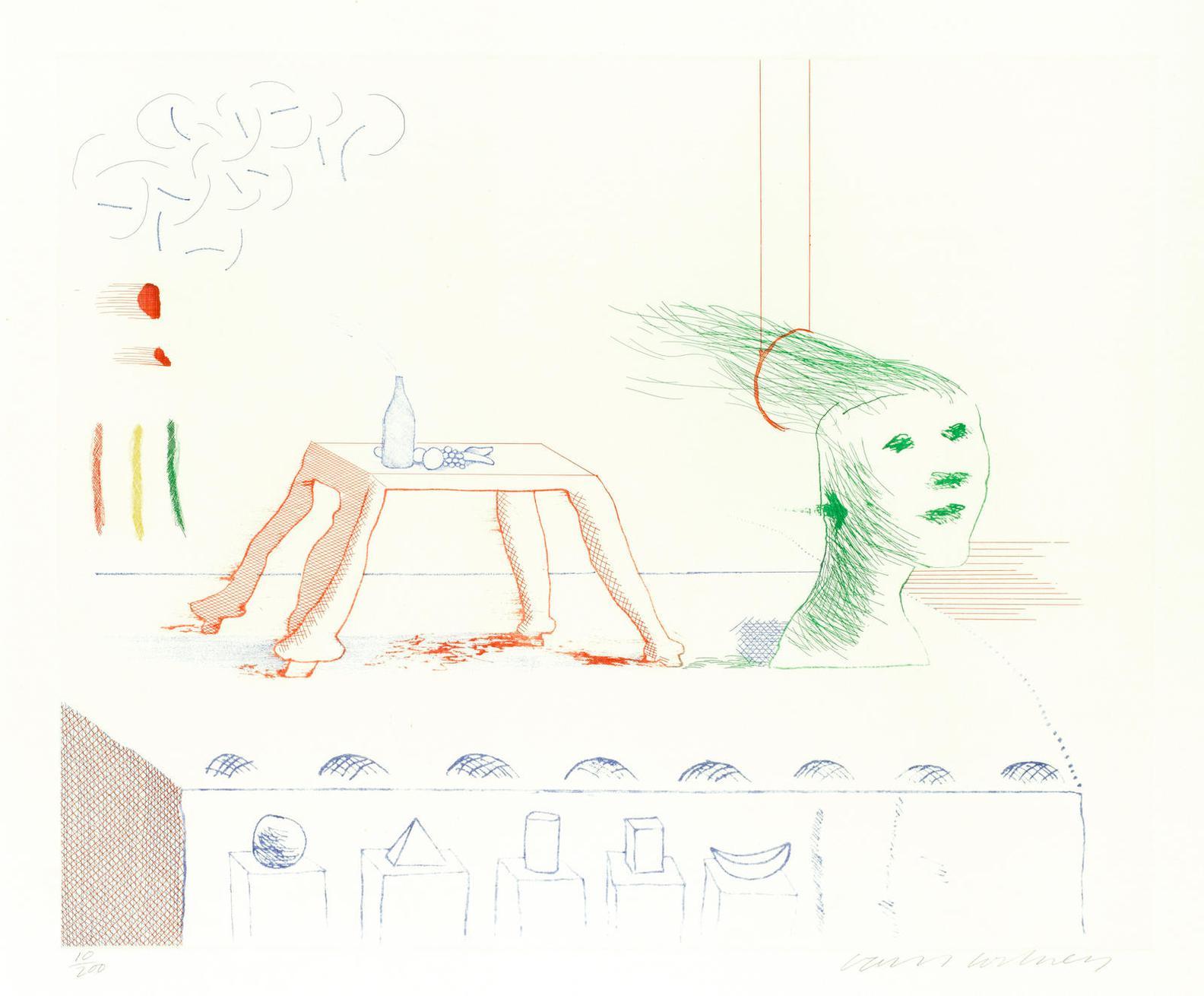 David Hockney-A Moving Still Life, From The Blue Guitar-1977