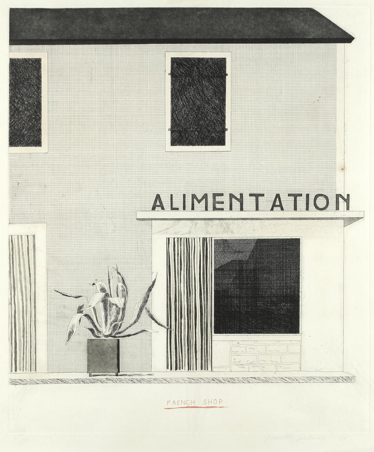 David Hockney-The French Shop-1971