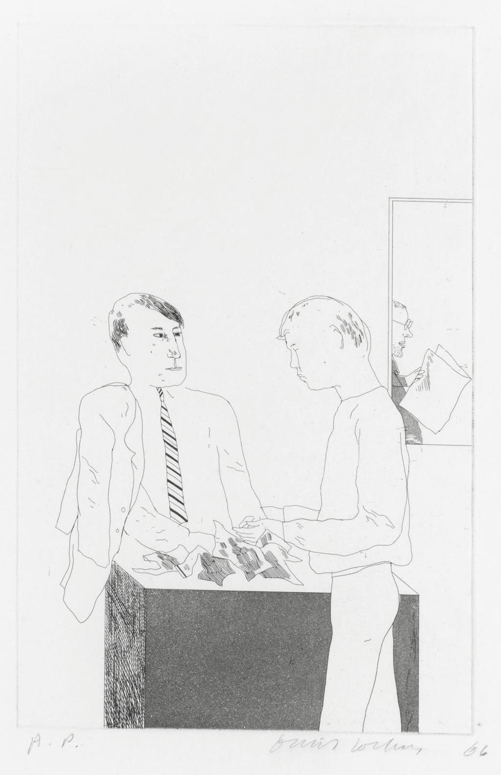 David Hockney-He Enquired After The Quality, From Illustrations For Fourteen Poems From C.P. Cavafy-1966