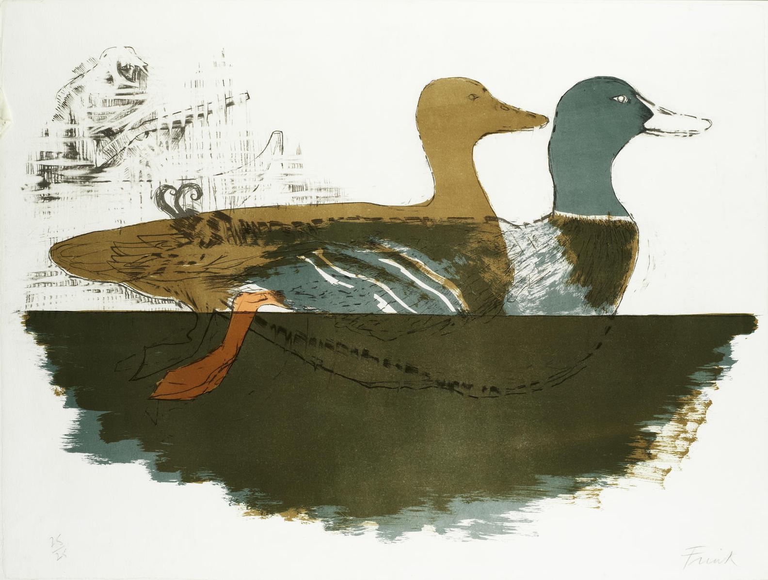 Elisabeth Frink-Ducks, From Images Series-1967