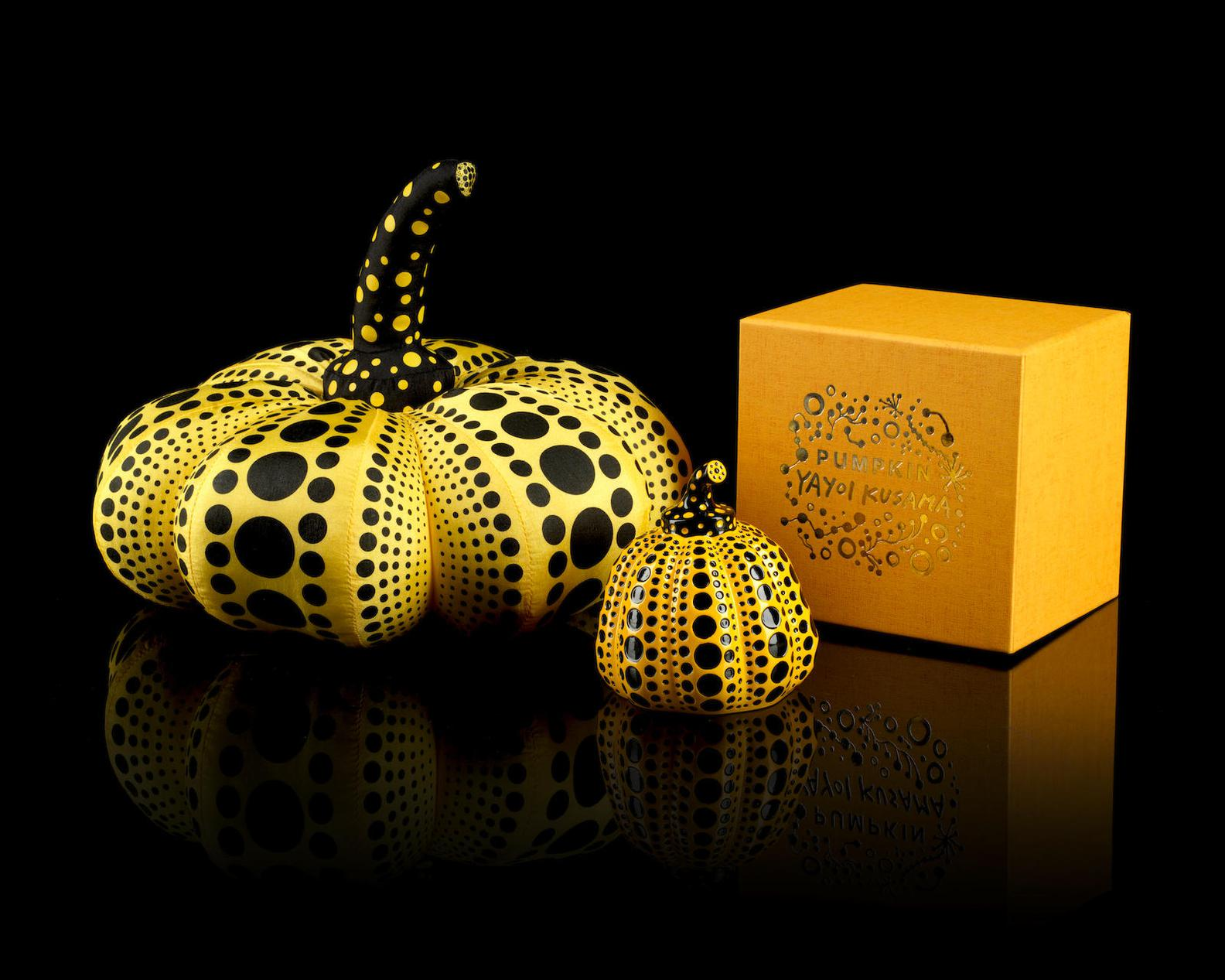 Yayoi Kusama-Two Pumpkins (Yellow & Black)-2012