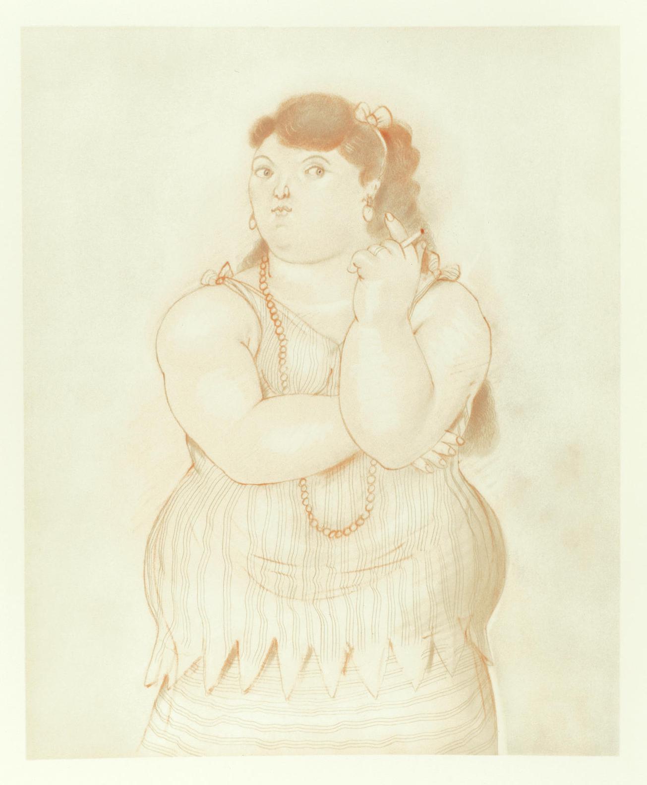 Fernando Botero-Mujer Fumando-1985