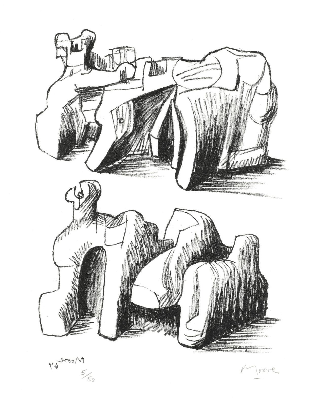 Henry Moore-Two Rock Reclining Figures-1967