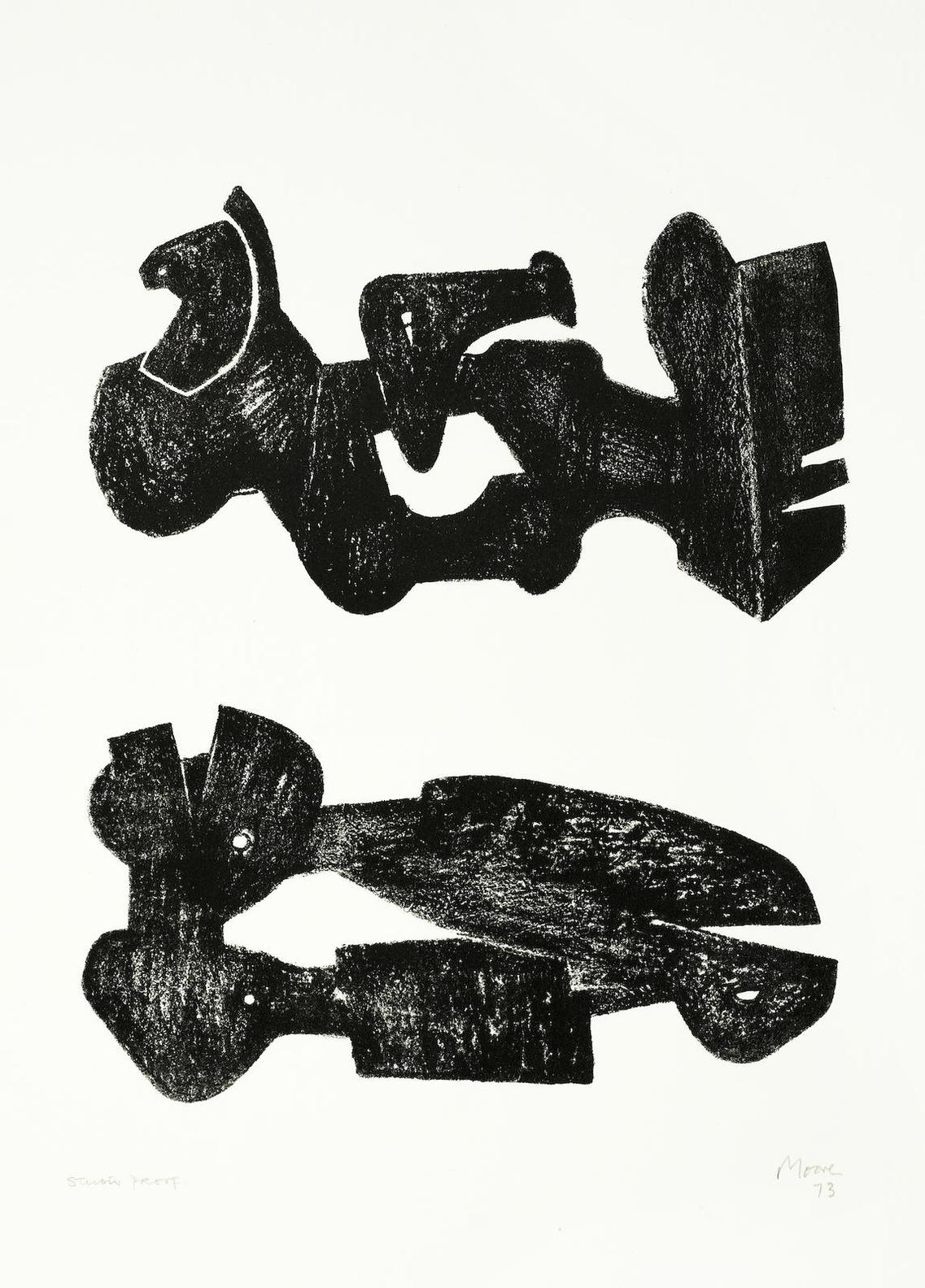 Henry Moore-Two Black Forms: Metal Figures-1973