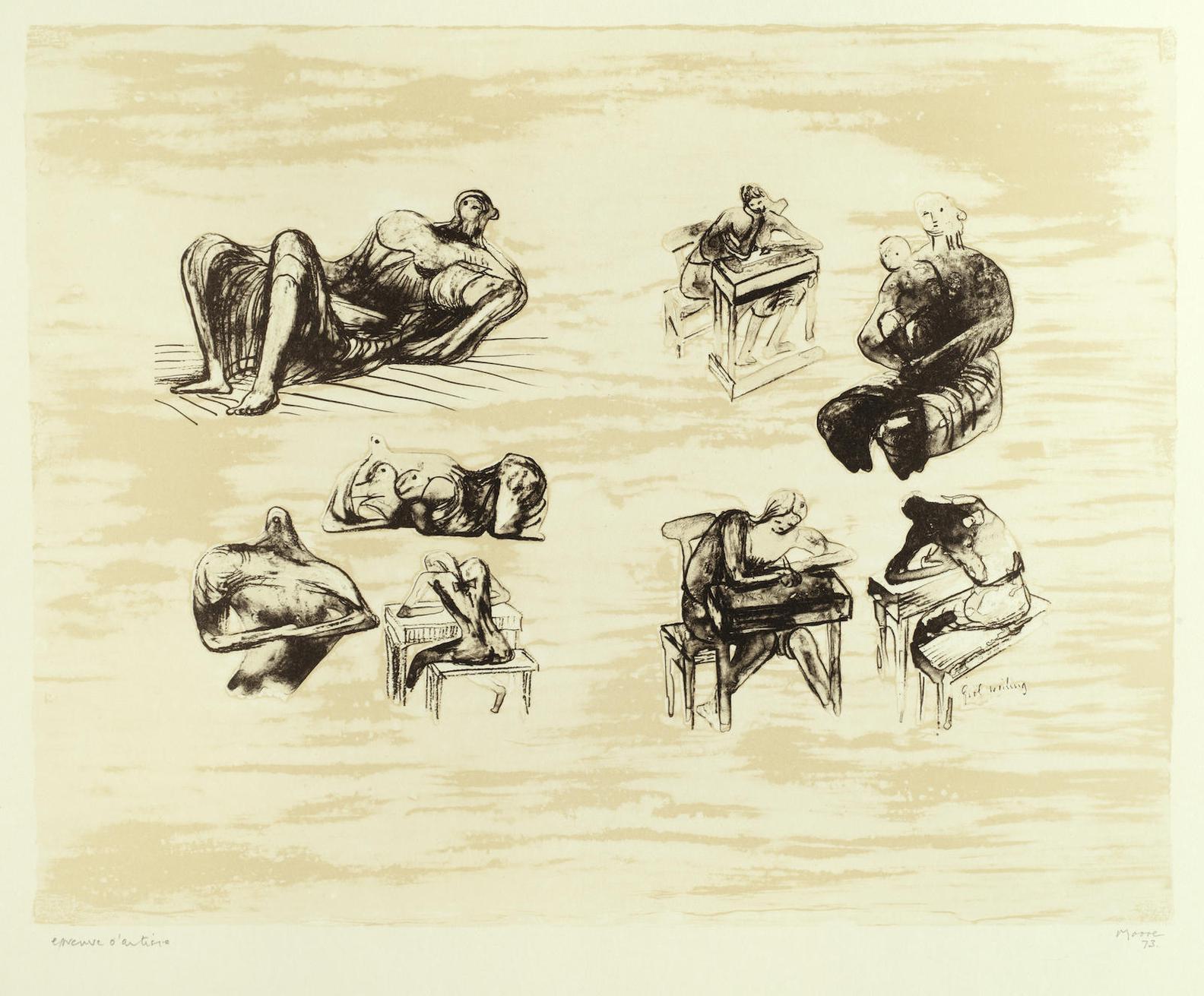 Henry Moore-Eight Sculptural Ideas, Girl Writing-1973