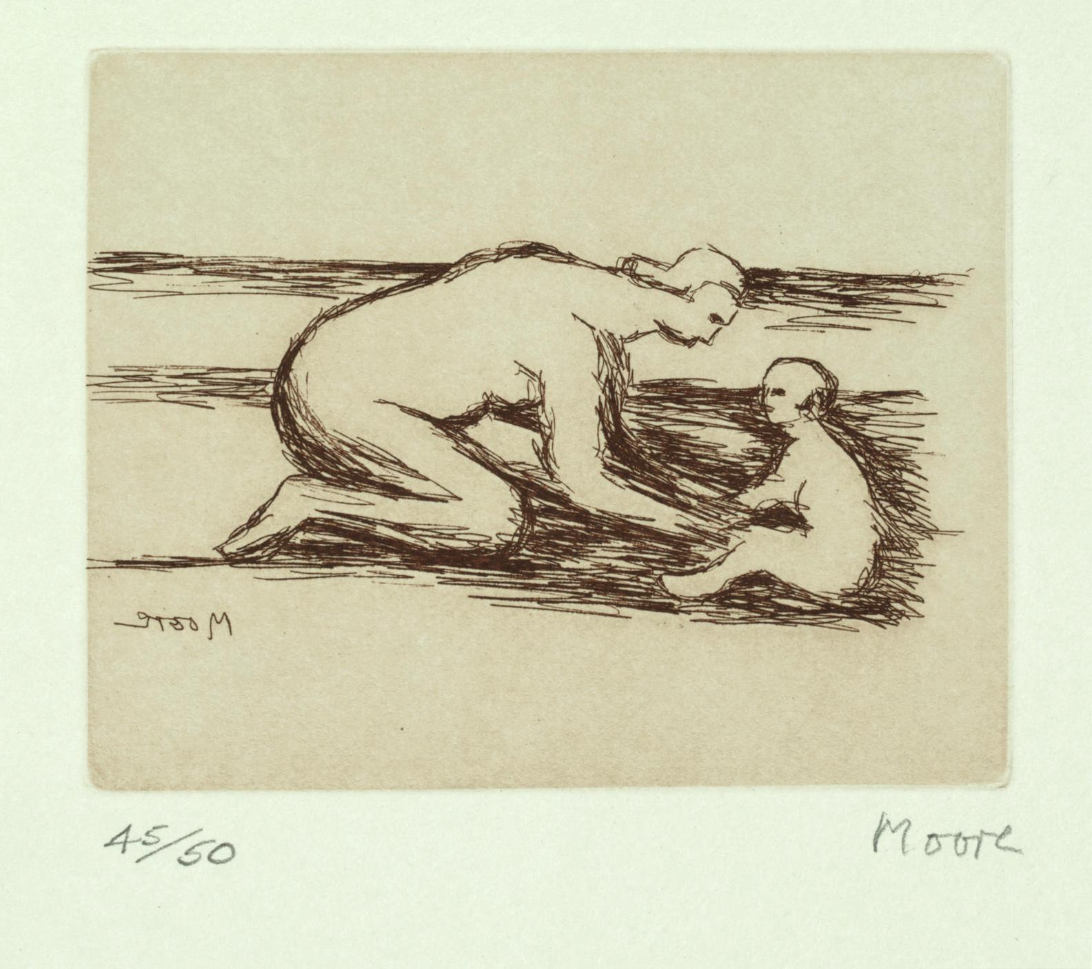 Henry Moore-Mother And Child A-1984