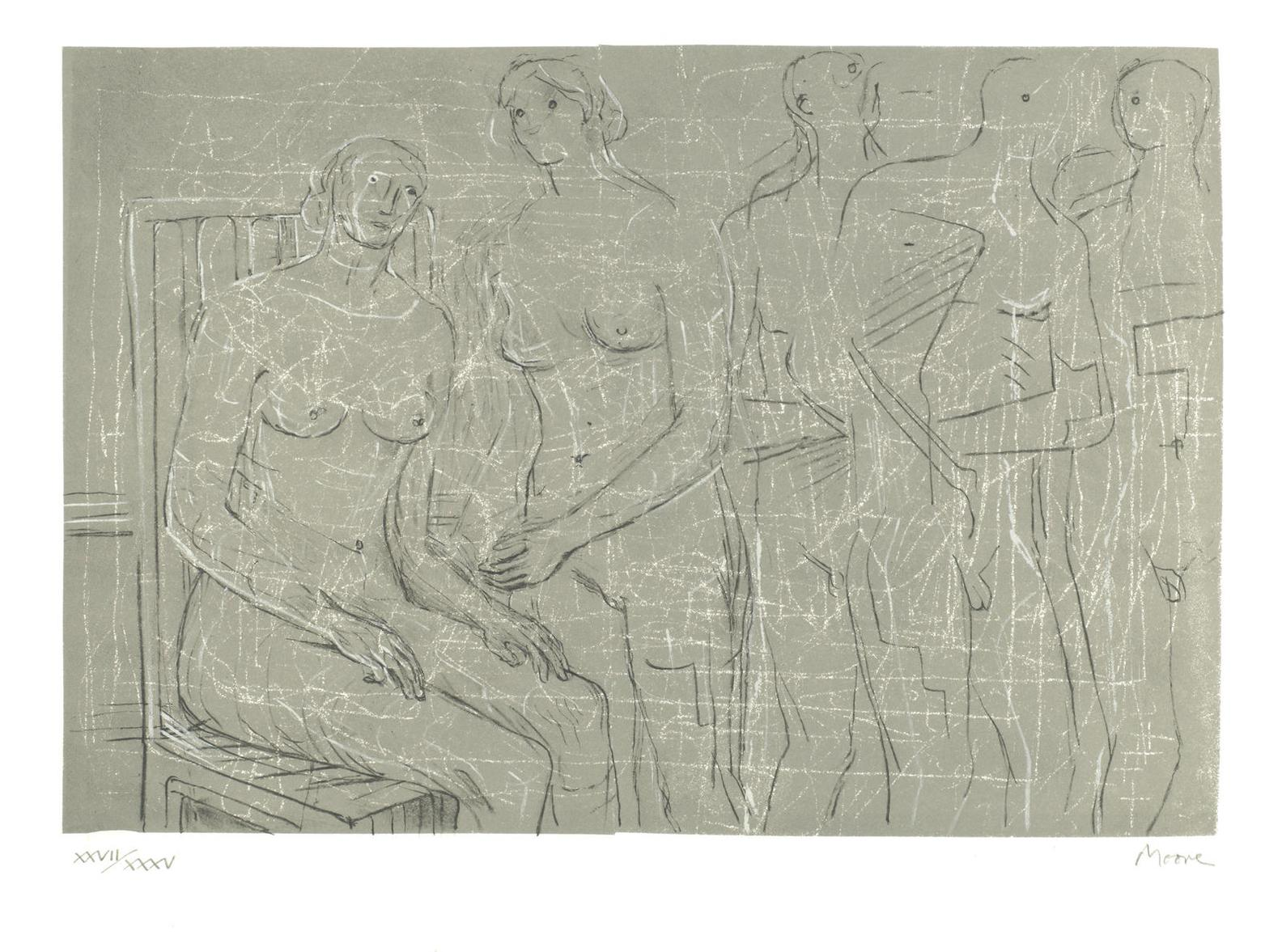 Henry Moore-Group Of Figures-1974
