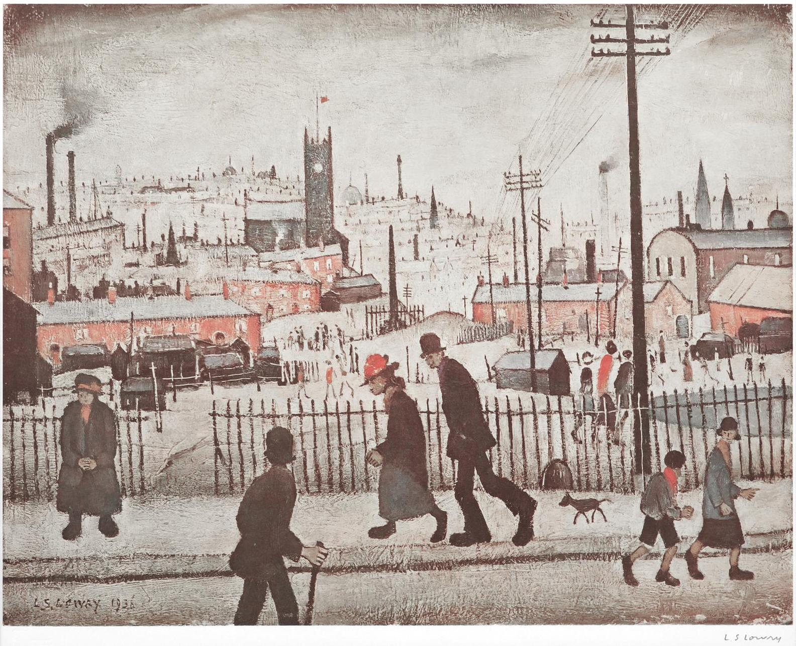 Laurence Stephen Lowry-View Of A Town-