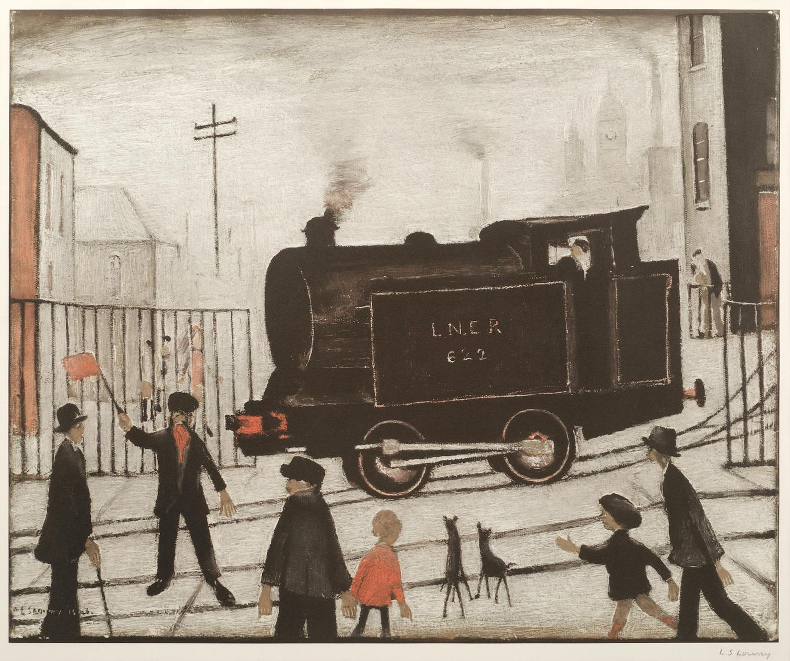 Laurence Stephen Lowry-Level Crossing With Train-1973