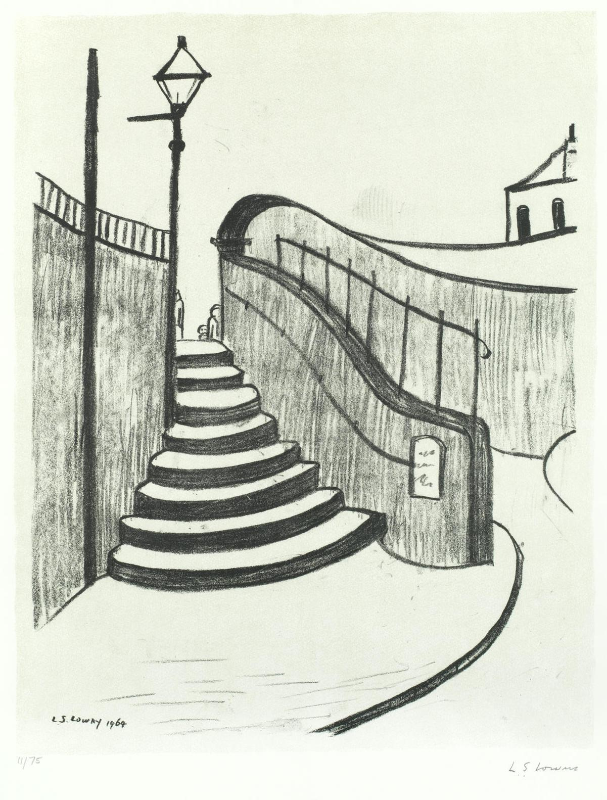 Laurence Stephen Lowry-The Old Steps, Stockport-1969