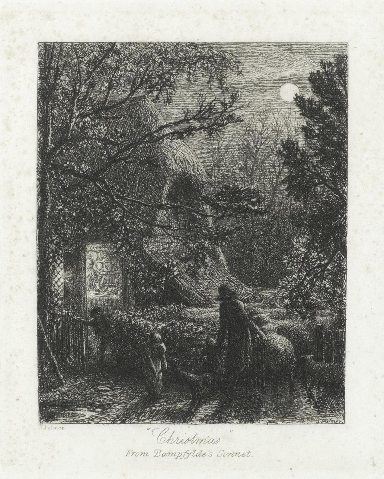 Samuel Palmer-Christmas, Or Folding The Last Sheep-1850