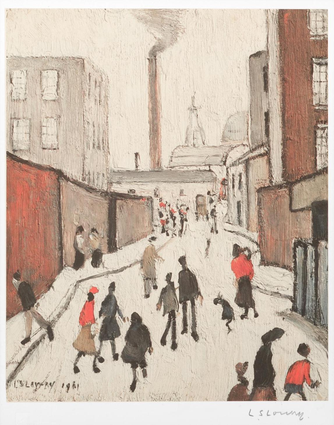 Laurence Stephen Lowry-Street Scene, Near A Factory-
