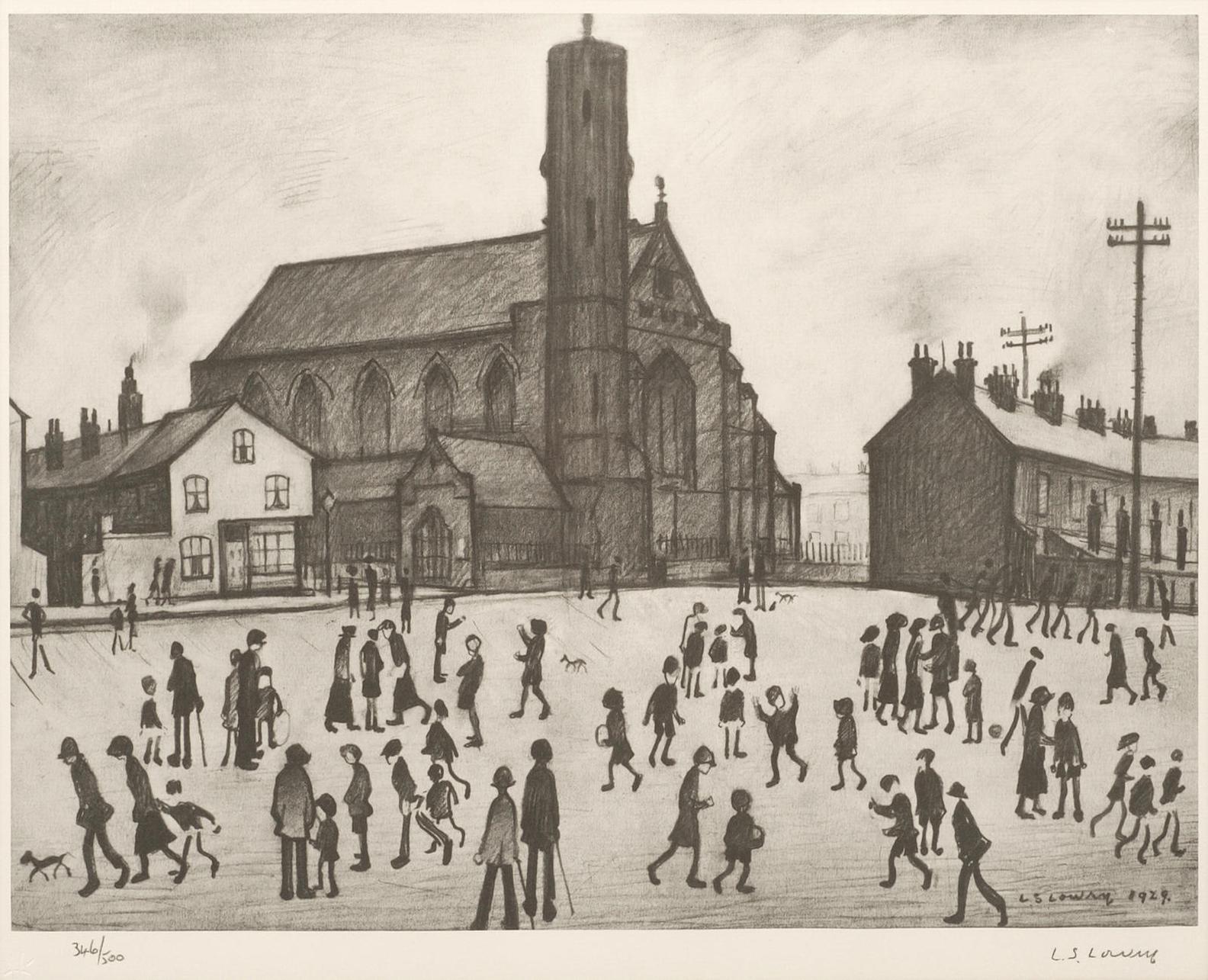 Laurence Stephen Lowry-St Marys Church, Beswick-
