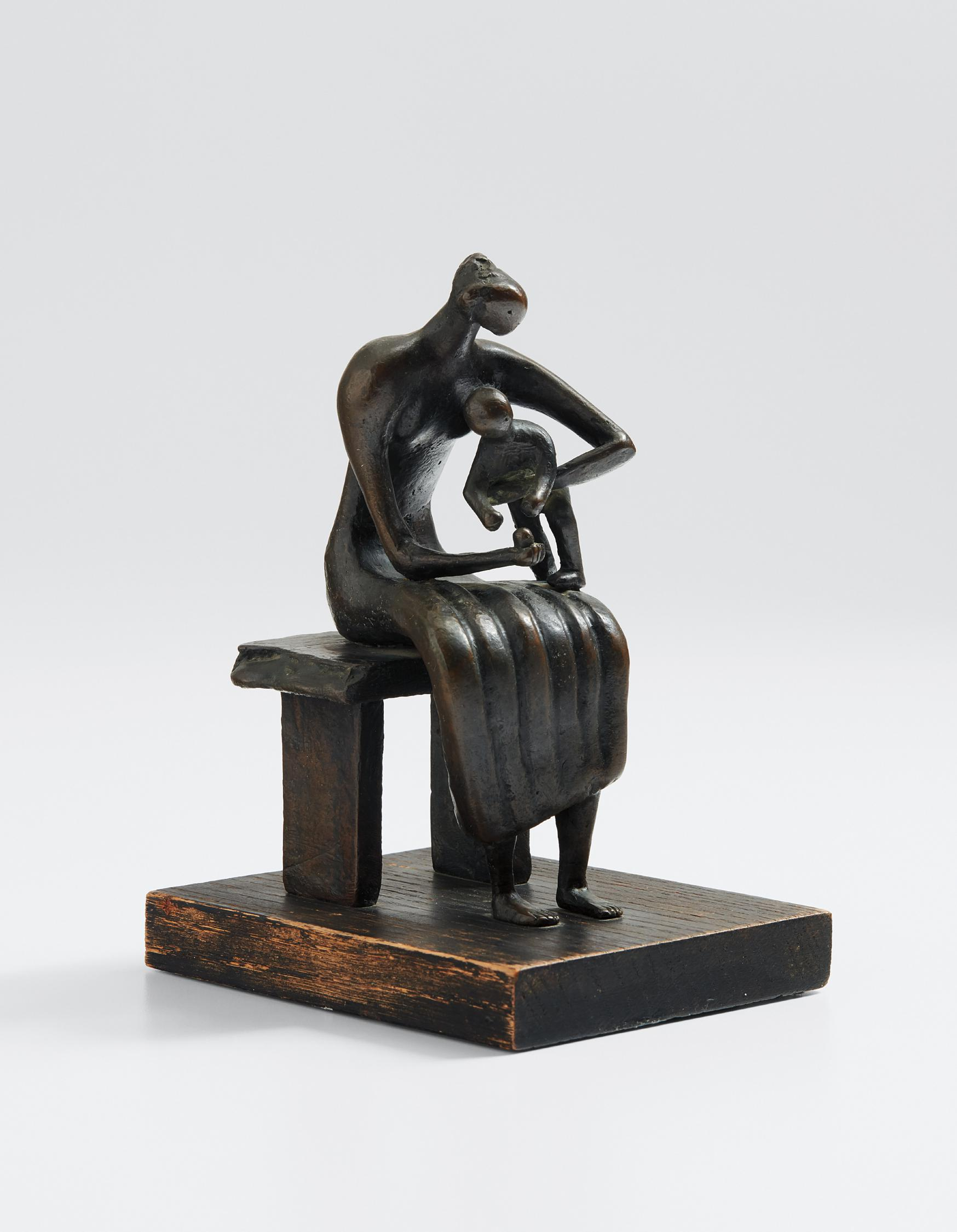 Henry Moore-Maquette For Mother And Child With Apple-1956
