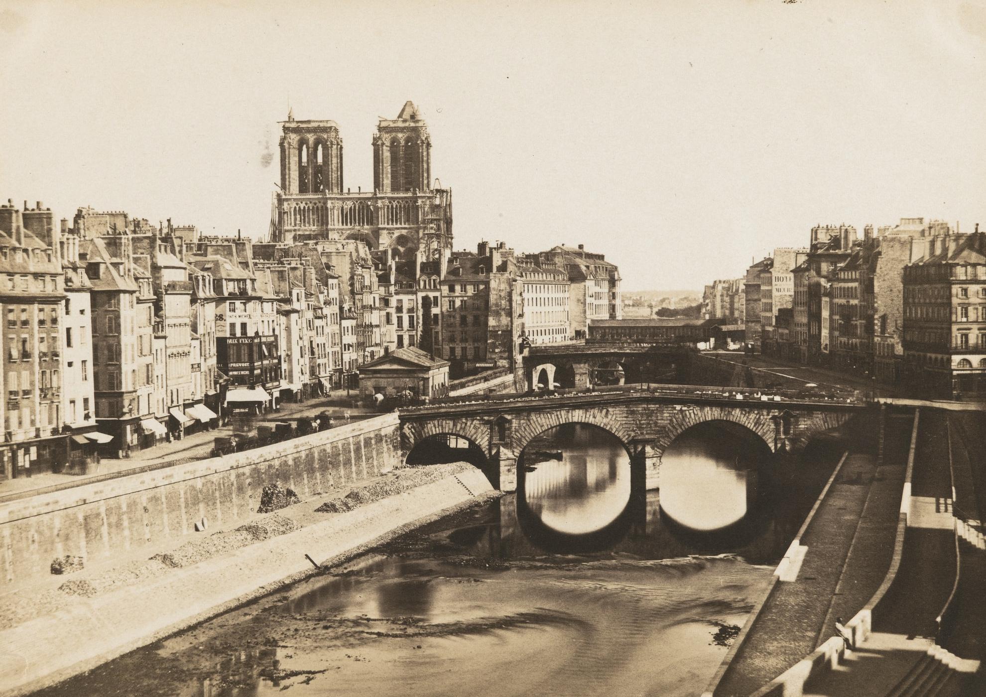 Anonyme - Vue De La Cathedrale Notre-Dame De Paris Depuis Le 27 Quai Des Grands Augustins-1851