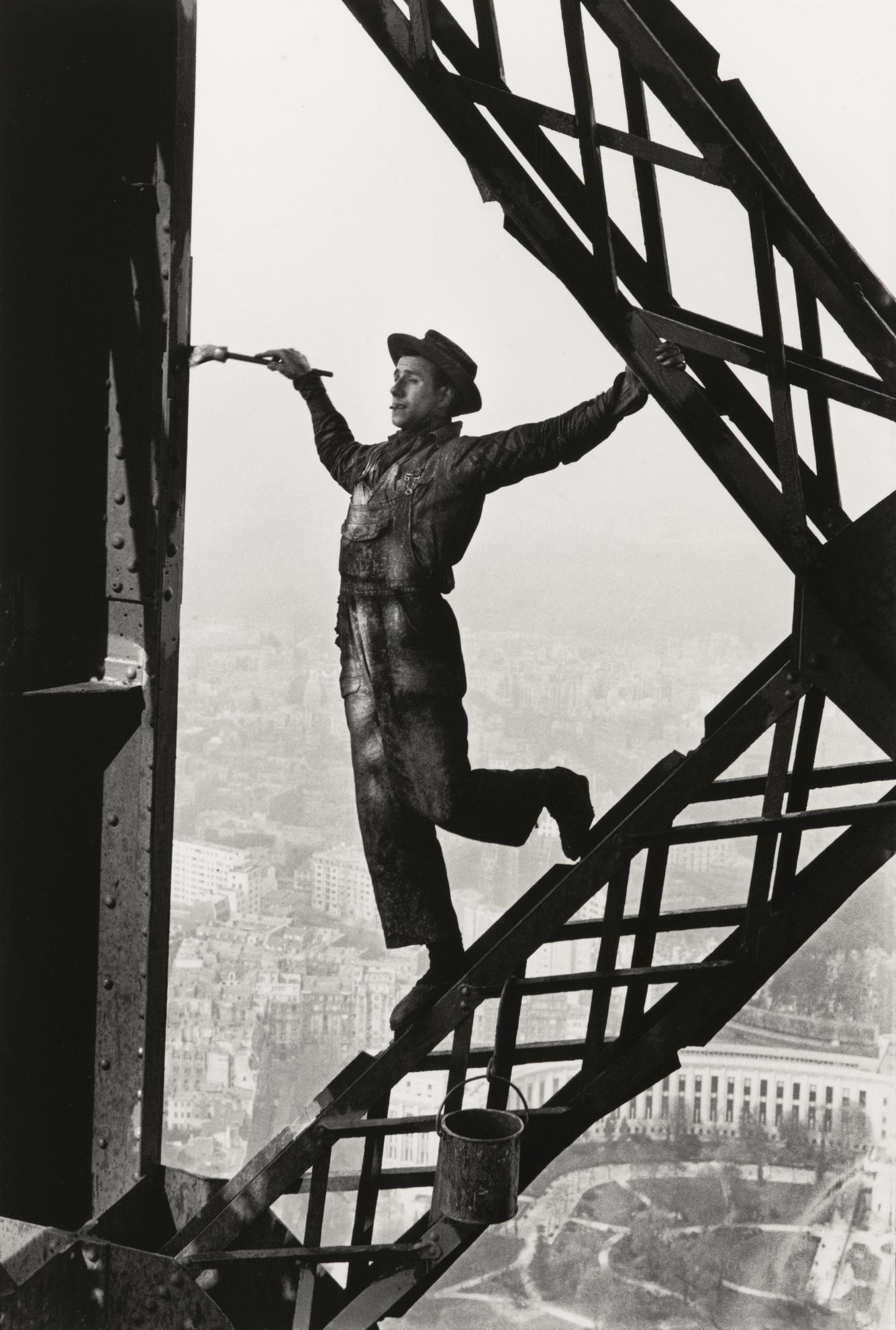 Marc Riboud-Eiffel Tower Painter, Paris-1953