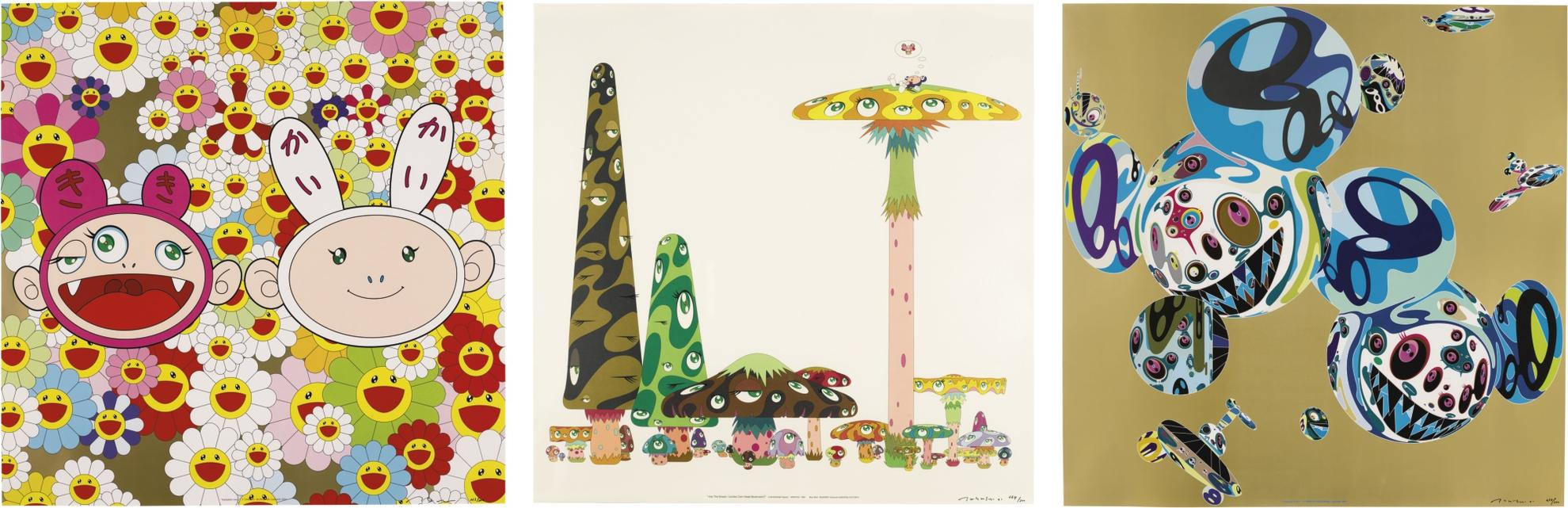 Takashi Murakami-(i) Into The Dream. [Jumbo Corn Head Mushroom]; (ii) Reversal D.N.A Iii. Kaikaikiki News-2001