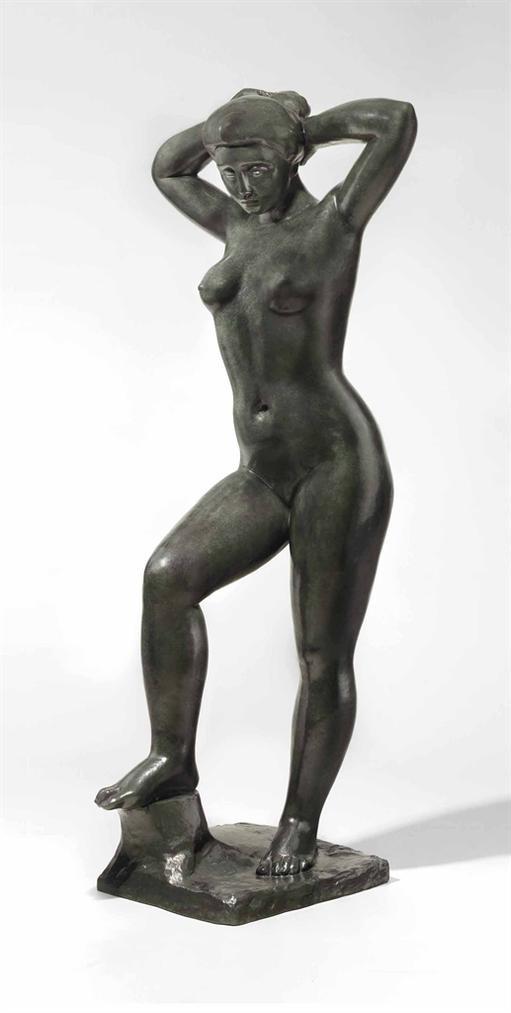 Aristide Maillol-Baigneuse Debout Se Coiffant-1935