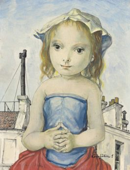 Tsuguharu Foujita-Jeune Fille Sur Le Toit De Paris-1955
