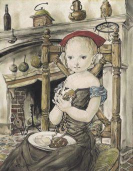 Tsuguharu Foujita-Jeune Fille Epluchant Des Pommes De Terre
