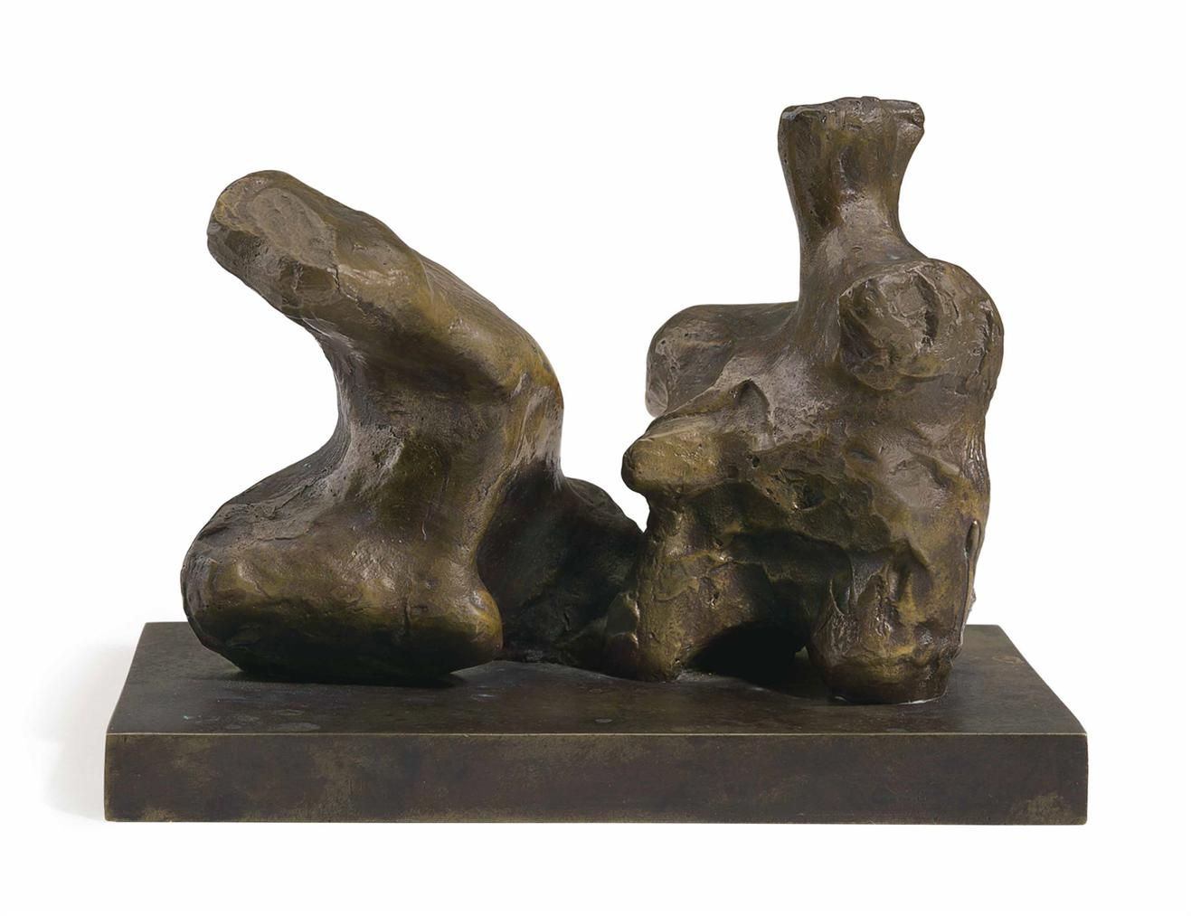 Henry Moore-Maquette For Two Piece Reclining Figure No. 1-1959