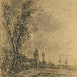 Piet Mondrian-Veld Met Links Een Rij Bomen-1907