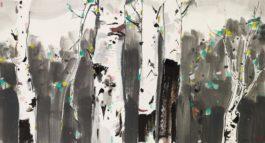 Wu Guanzhong - White Birch-1988
