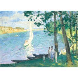 Pierre Eugene Montezin-Bateau Sur Un Lac