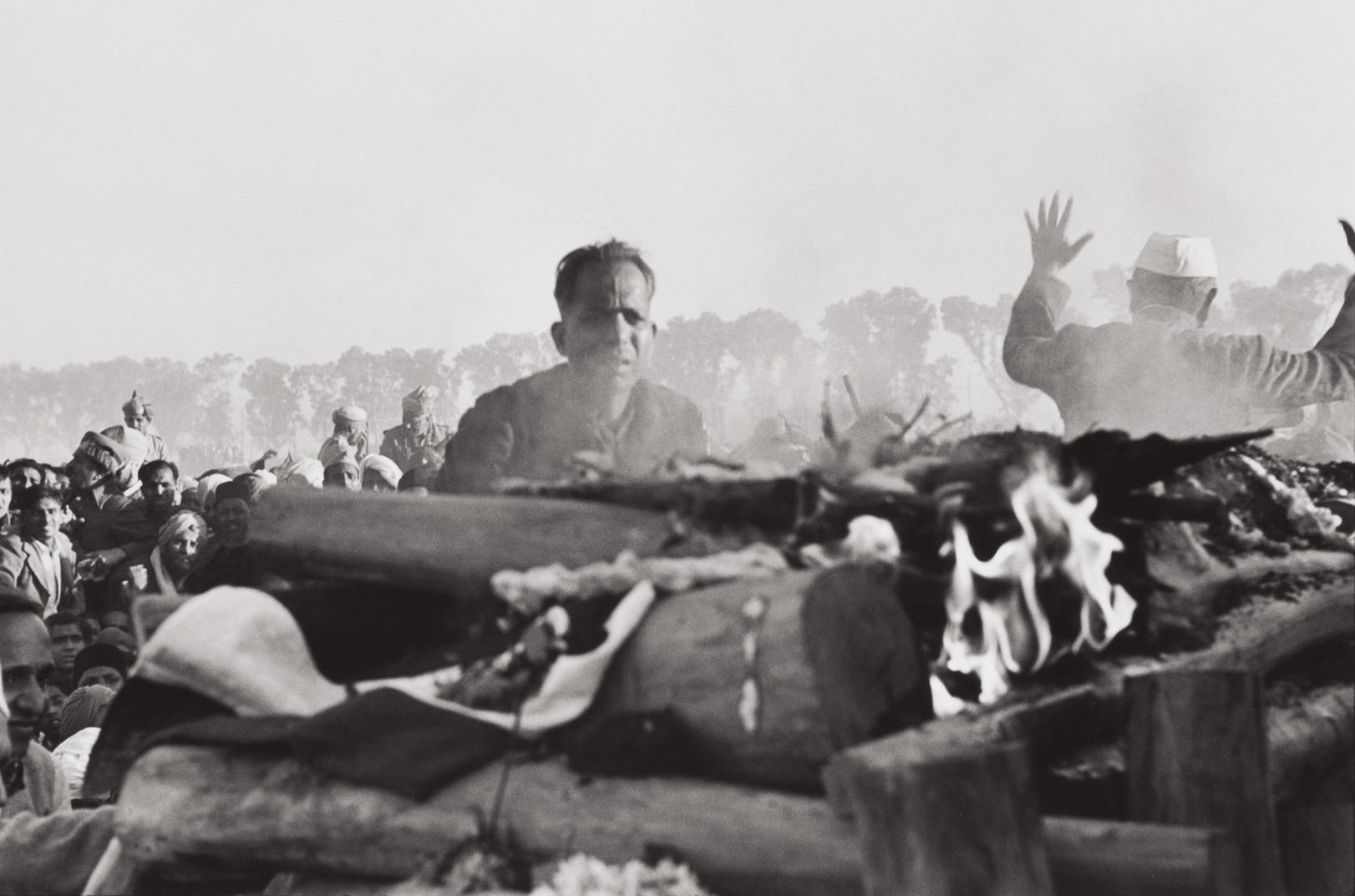 Henri Cartier-Bresson-Gandhis Secretary Watches The First Flames Of The Funeral Pyre, Delhi, India-1948