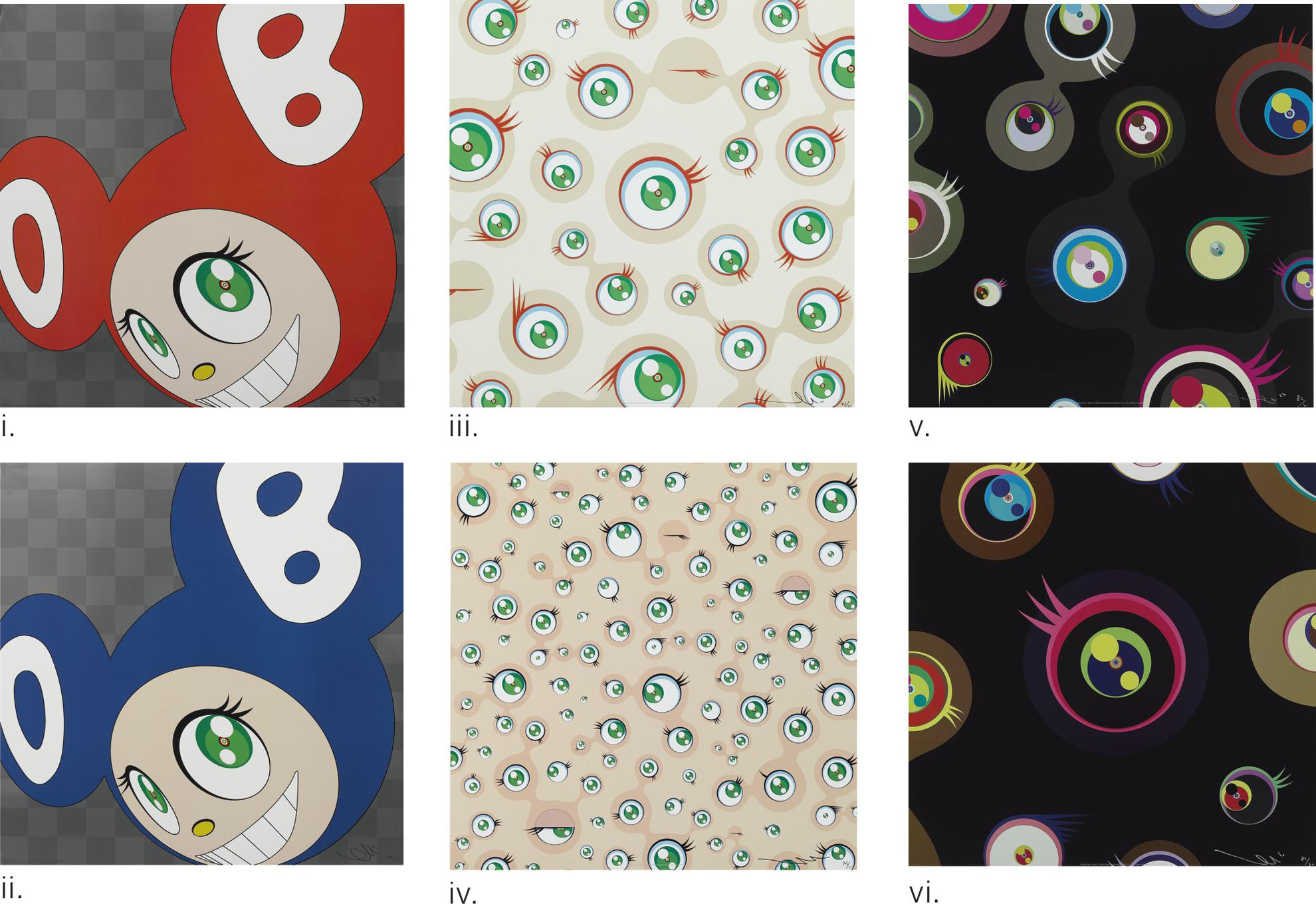Takashi Murakami-(i) And Then And Then And Then And Then And Then (Red) (ii) And Then And Then And Then And Then And Then (Blue) (iii) Jellyfish Eyes Cream; (iv) Jellyfish Eyes (v) Jellyfish Eyes - Black 2 (vi) Jellyfish Eyes - Black 1 (6 Works)-1999
