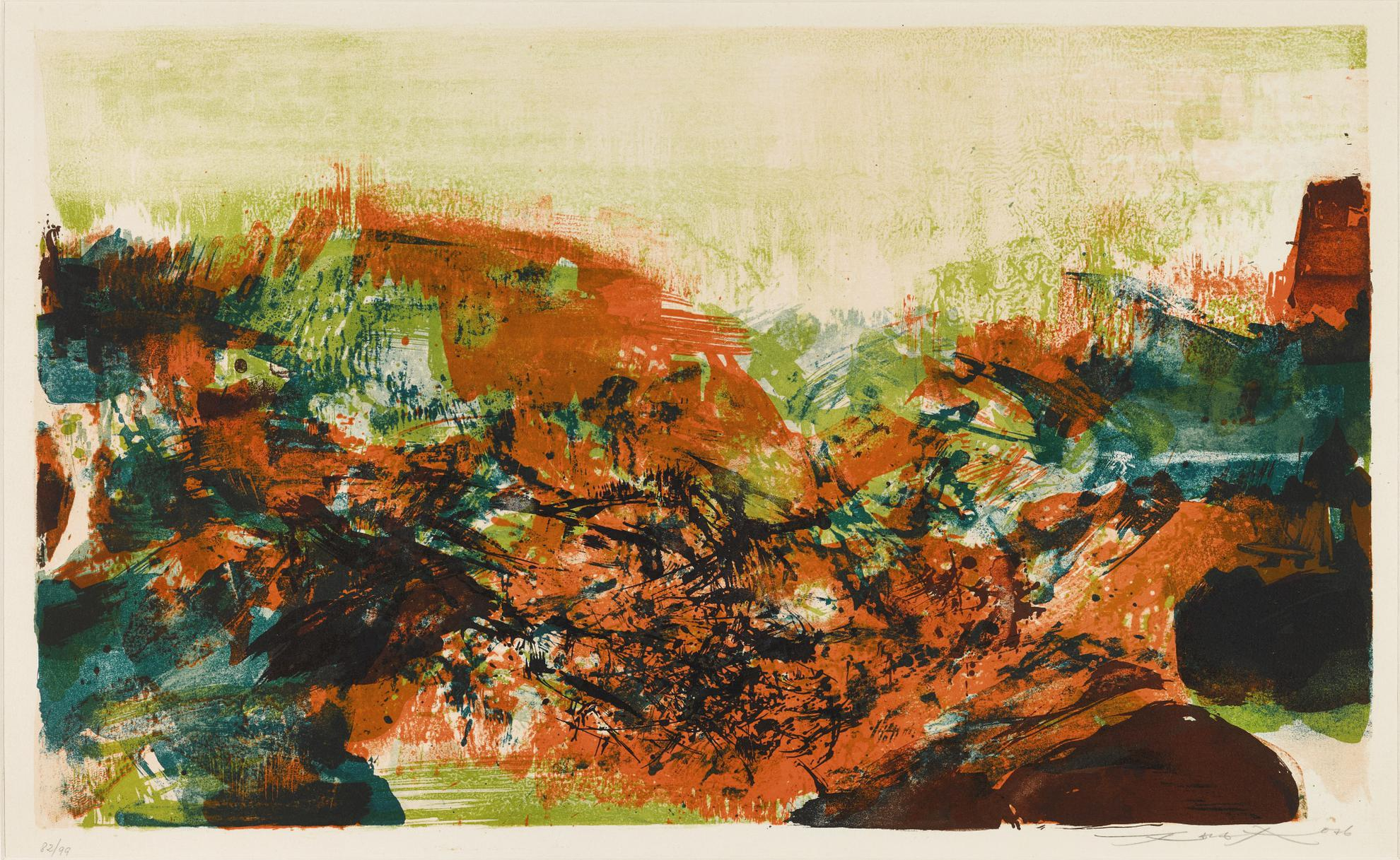 Zao Wou-Ki-Untitled, From A La Gloire De Limage Et Art Poetique (In Honour Of The Picture And Of Poetry)-1976