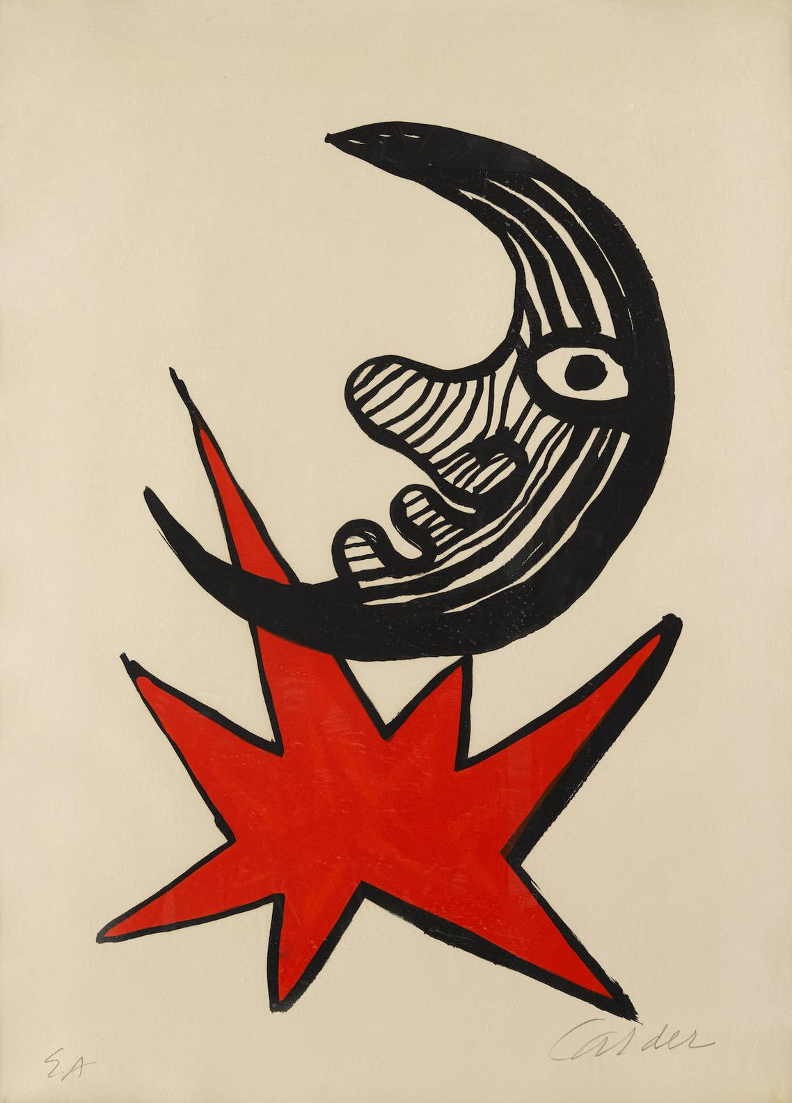 Alexander Calder-Moon And Red Star-1970