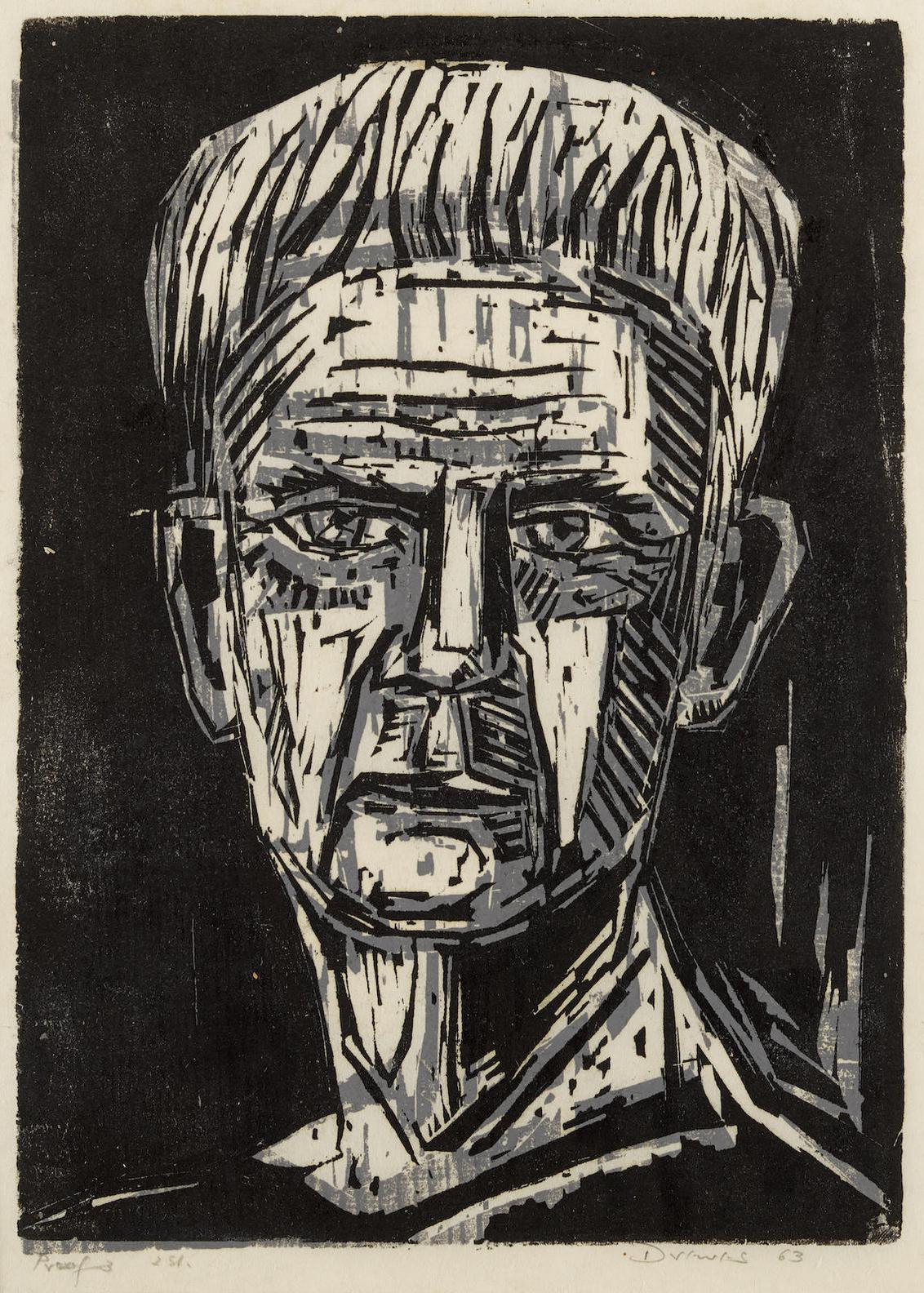 Werner Drewes-Portrait Of Gerhard Marcks; Pensive-1963