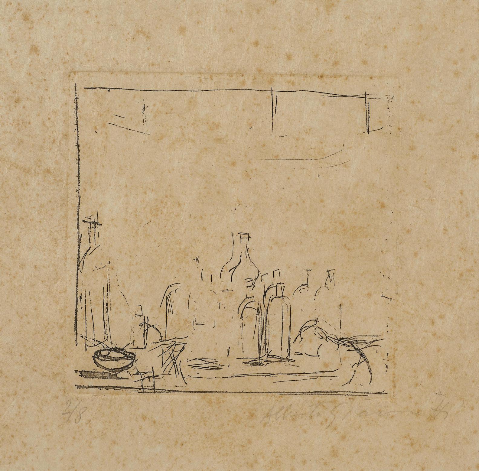 Alberto Giacometti-Bottles In The Studio, From Un Poeme Dans Chaque Livre-1956