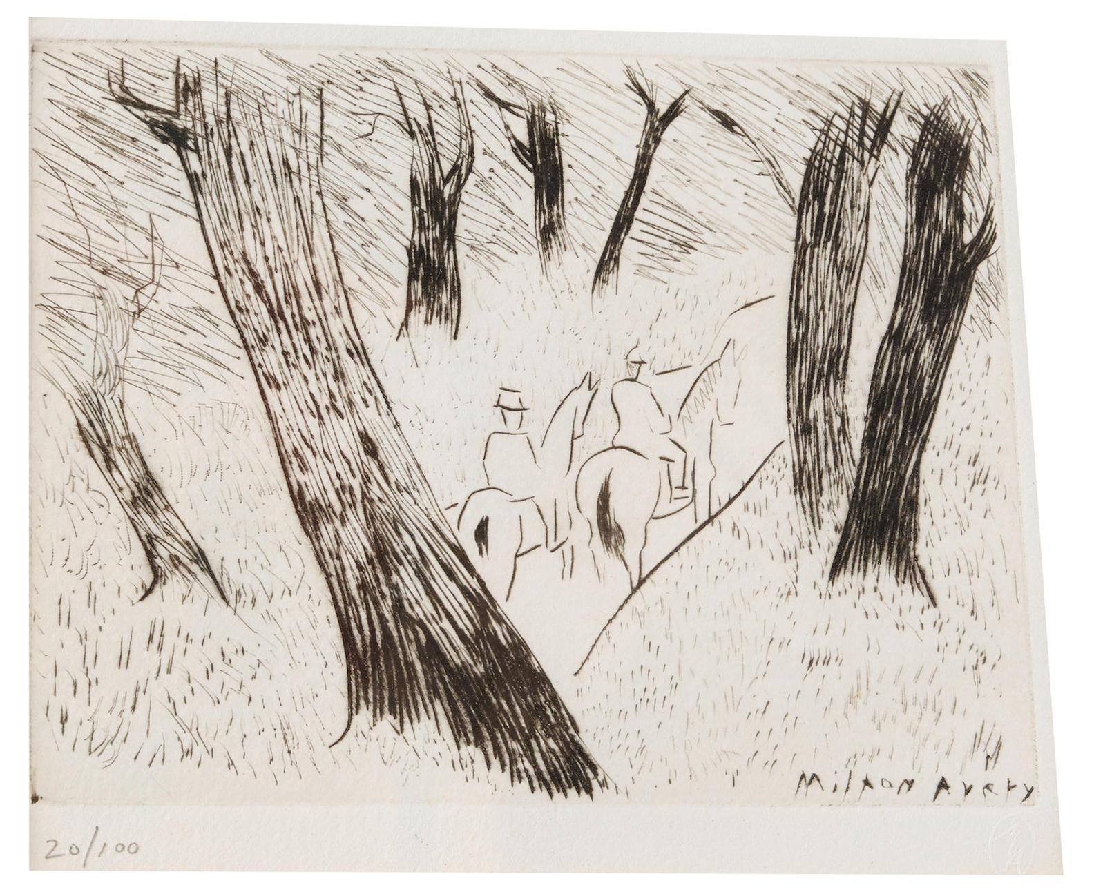 Milton Avery-Riders In The Park-1934